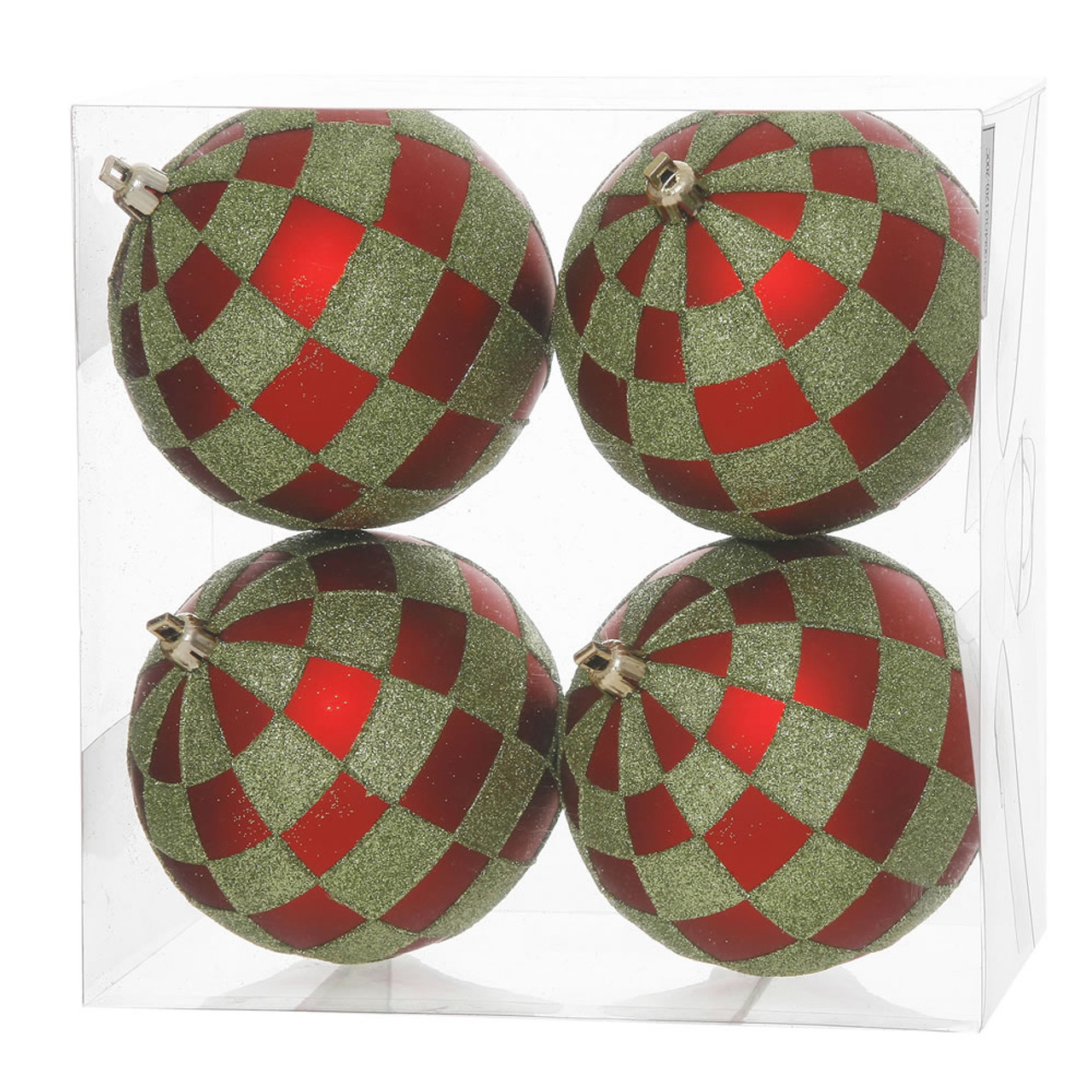 Pack Of 4 Red Matte Lime Green Glitter Checkered Christmas Ball Ornaments 4 75 121mm 31465201