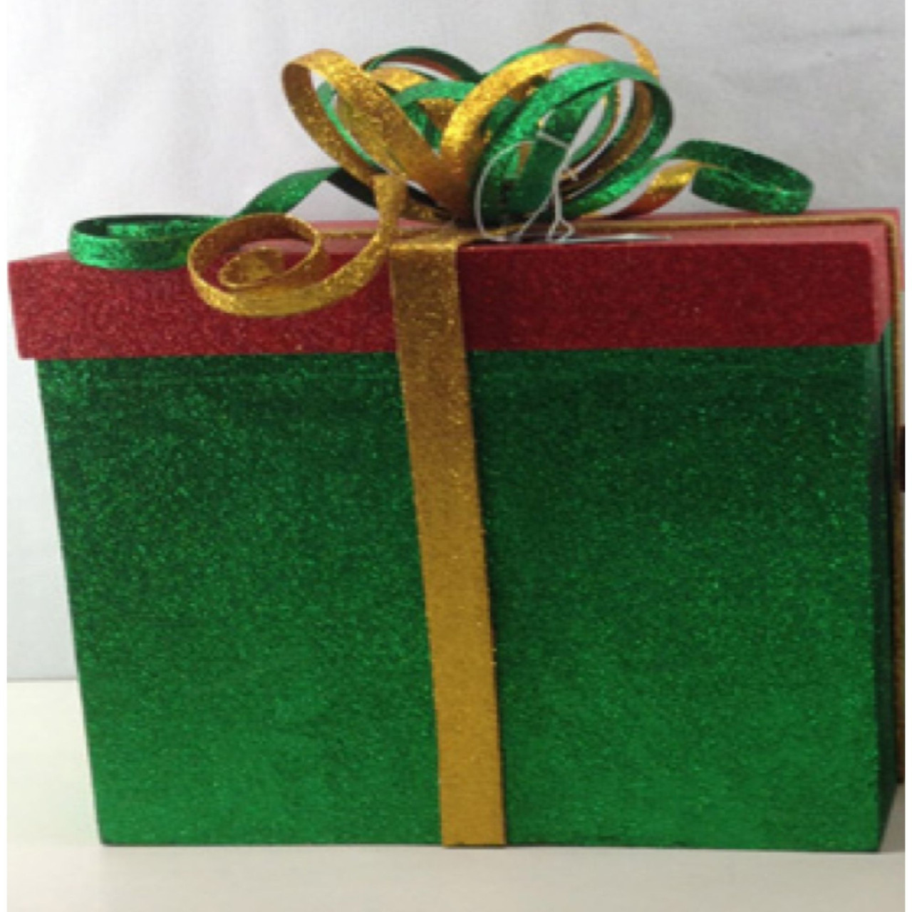 2 Piece Green Red Gold Glittered Gift Box Christmas Decoration 14