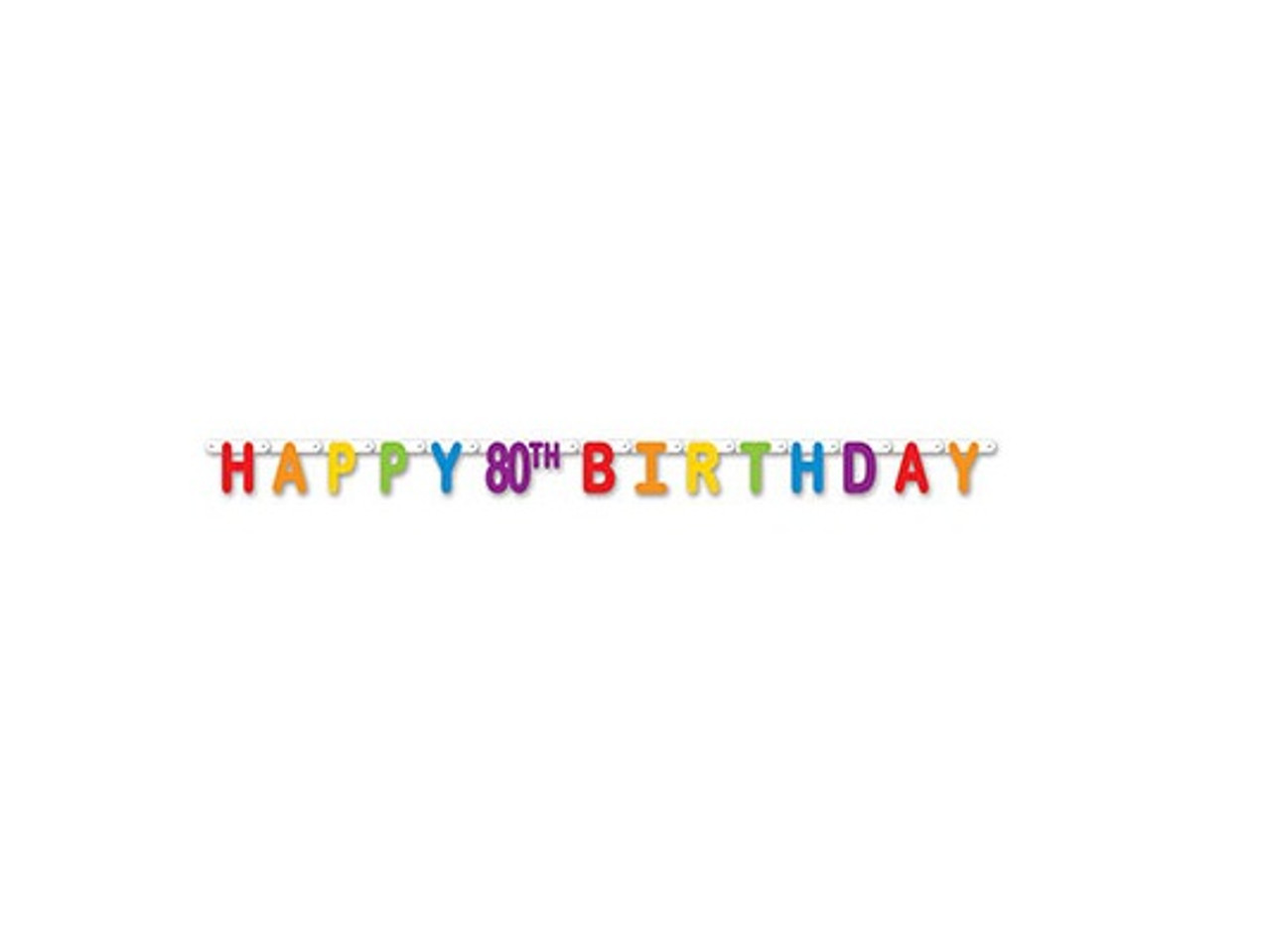 Pack Of 12 Colorful Jointed Happy 80th Birthday Banner Hanging Party