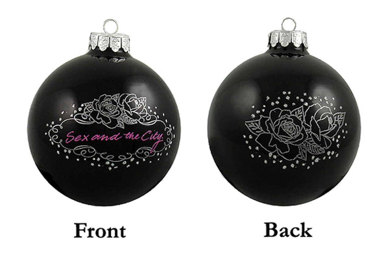 Hbo Sex And The City Black Rose Glass Ball Christmas Ornament 4 6566282
