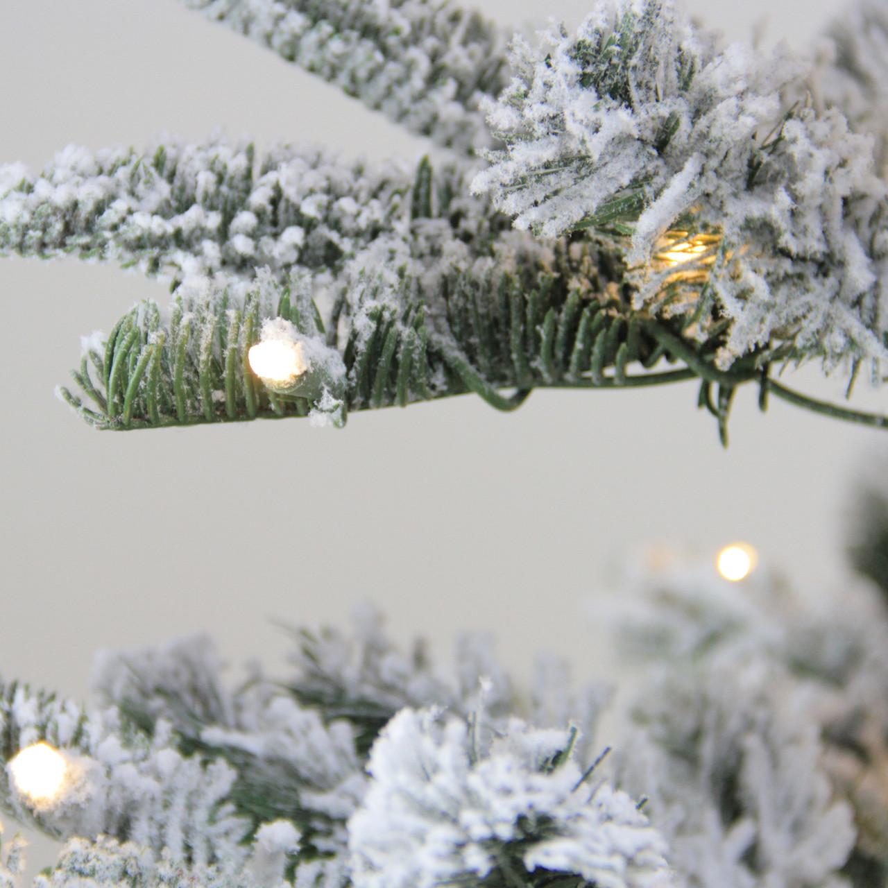 7 5 Pre Lit Noble Fir Flocked Artificial Christmas Tree Warm