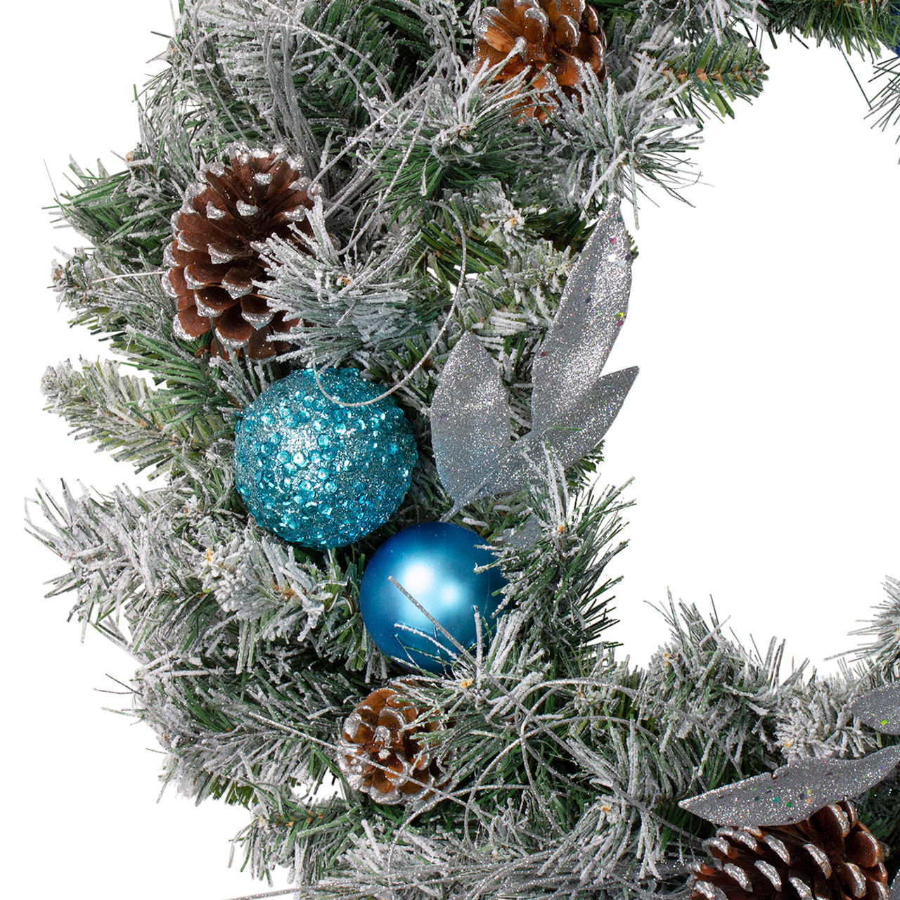 Flocked Pine with Teal and Silver Ornaments Artificial Christmas Wreath 24 Inch Unlit
