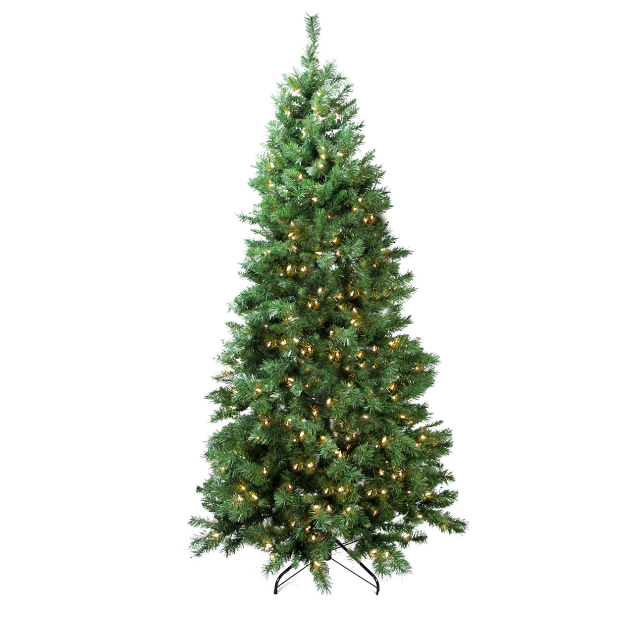 Pre Lit Led Lights Christmas Tree: 7' Pre-Lit Slim Glacier Pine Artificial Christmas Tree