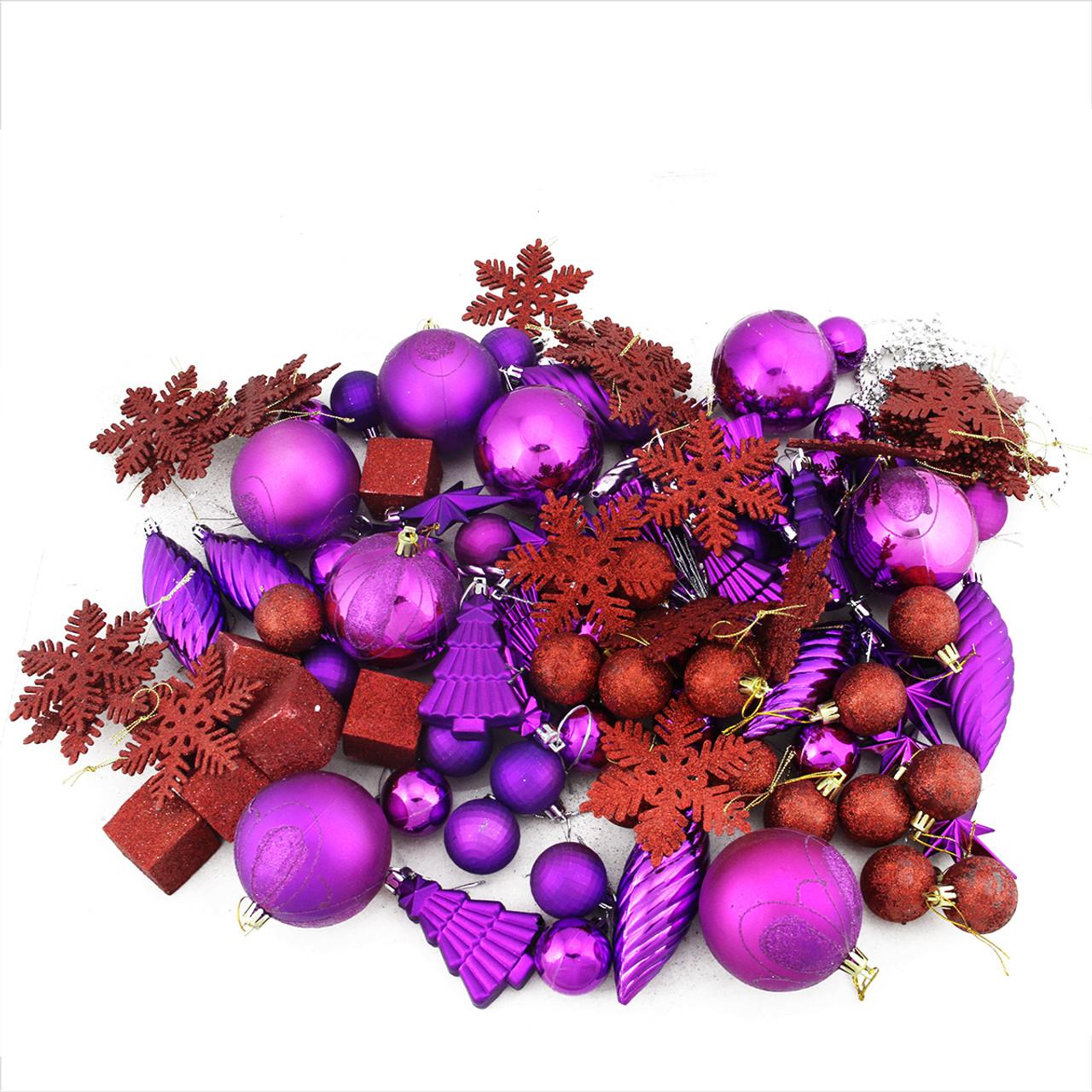 Purple Christmas Decorative 1.5 Inch Globes Set of 24