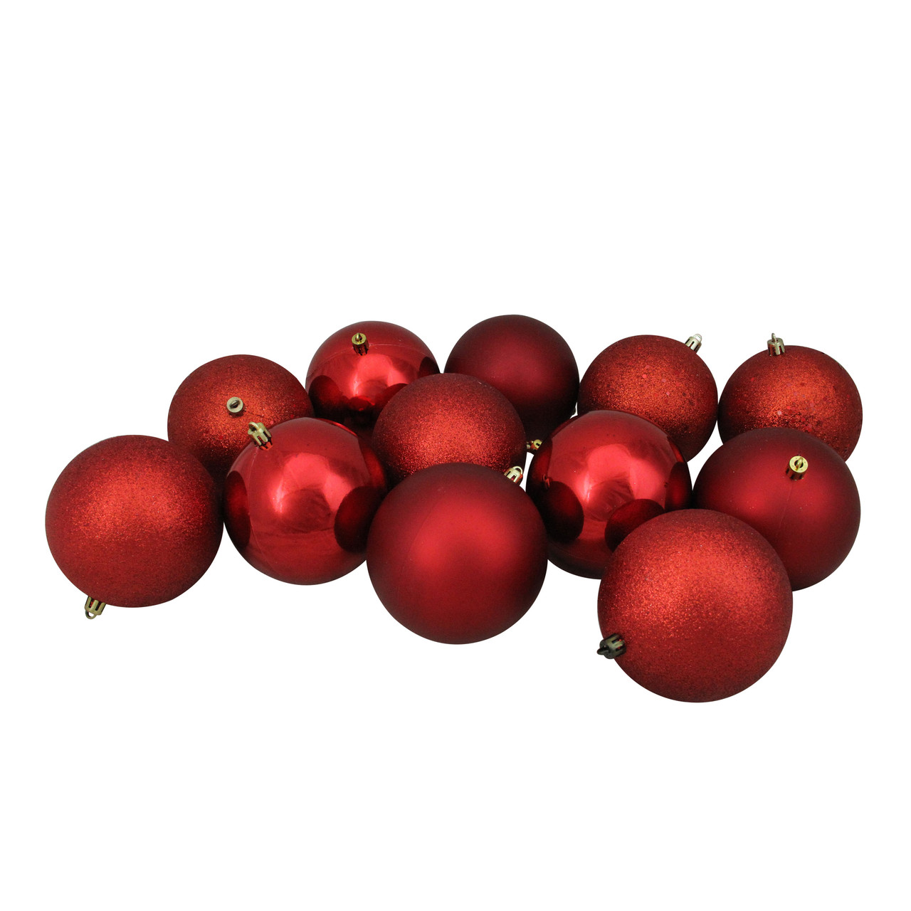 12ct Red Shatterproof 4 Finish Christmas Ball Ornaments 4 100mm Christmas Central