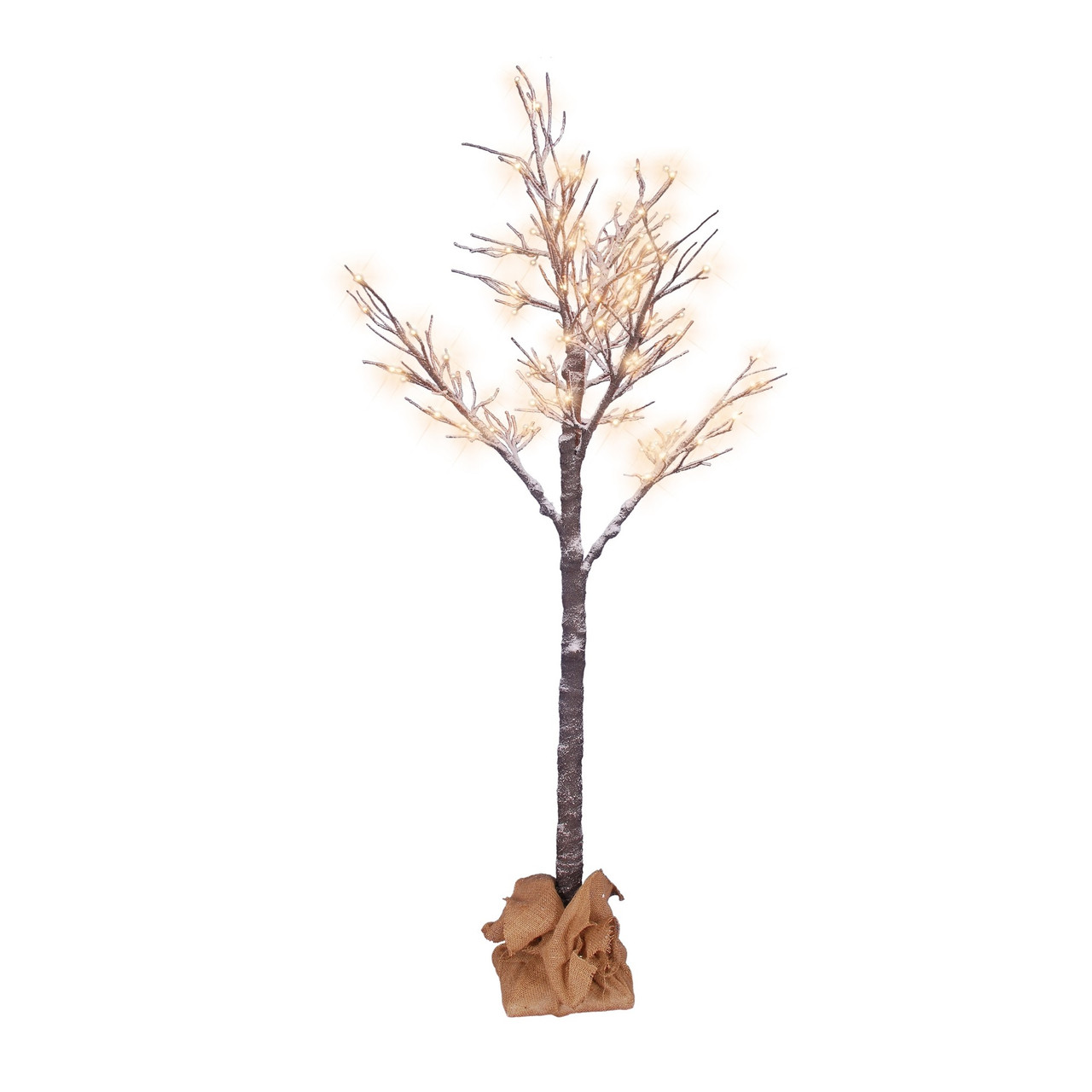 Pre Lit Christmas Twig Tree: 6' Pre-Lit Full Lighted Flocked Christmas Twig Tree