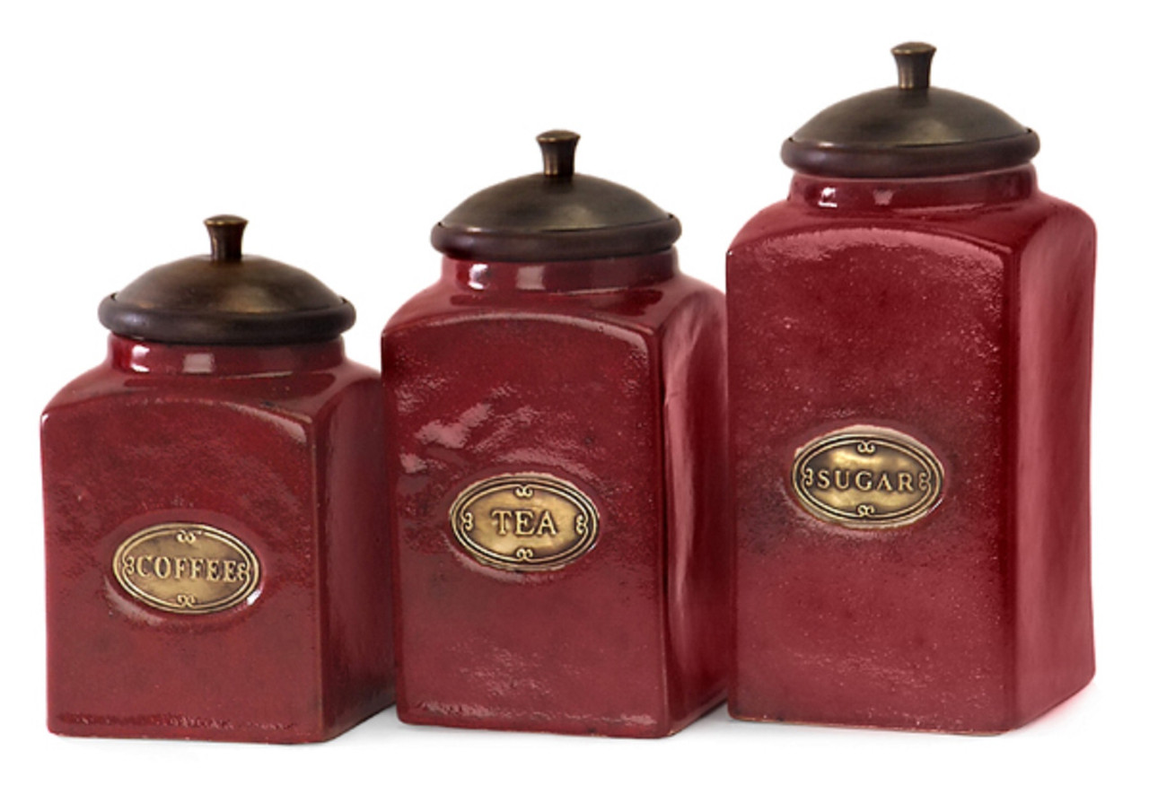 Set of 3 Rustic Red Lidded Ceramic Kitchen Canisters - 6936037