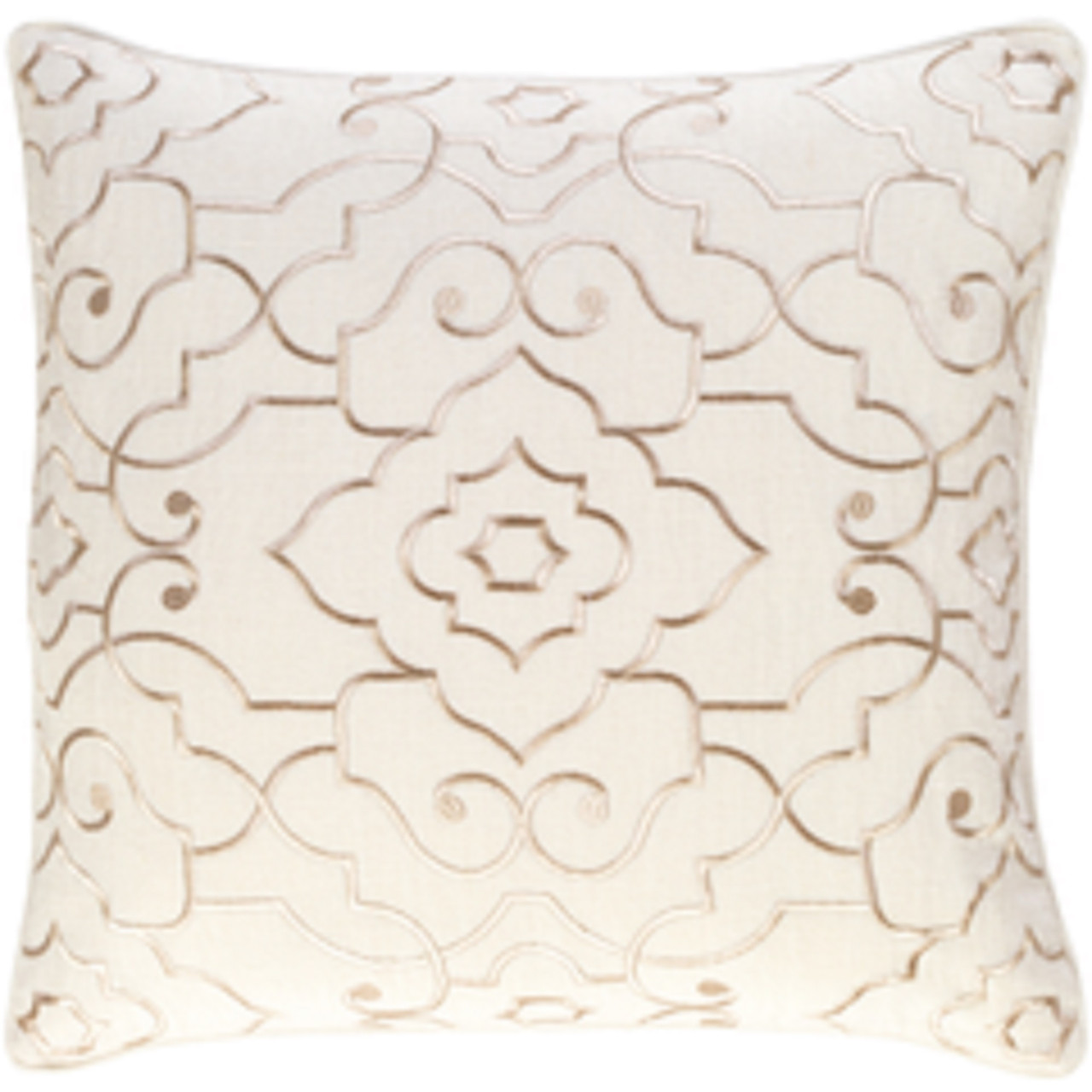 20 Ivory Cream Gold Woven Decorative Square Throw Pillow Down Filler Christmas Central