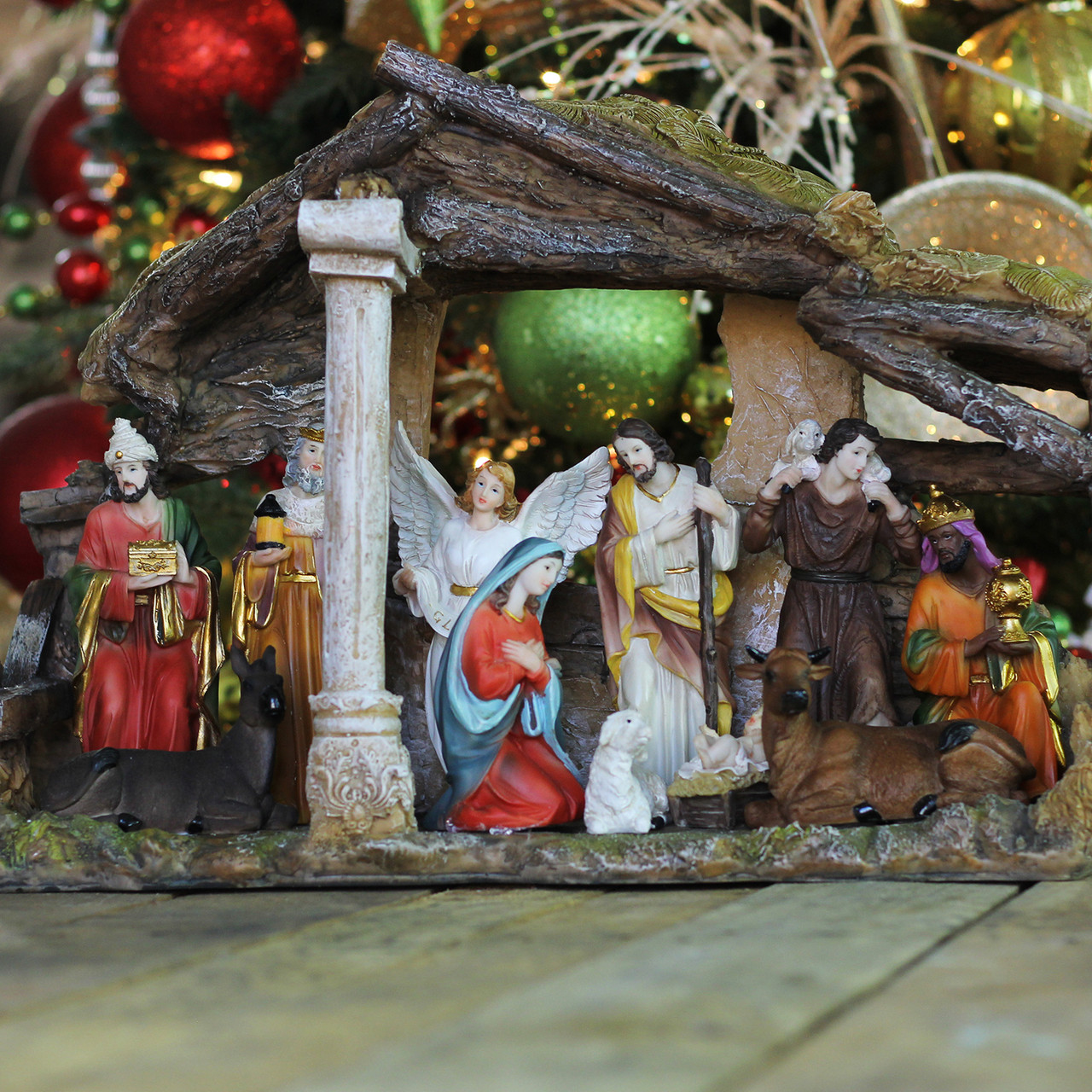 18 Traditional Religious Christmas Nativity With Stable House Decoration 32262120