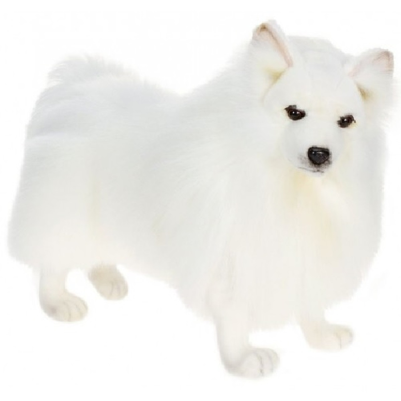18 Lifelike Handcrafted Extra Soft Plush White Akita Spitz Dog