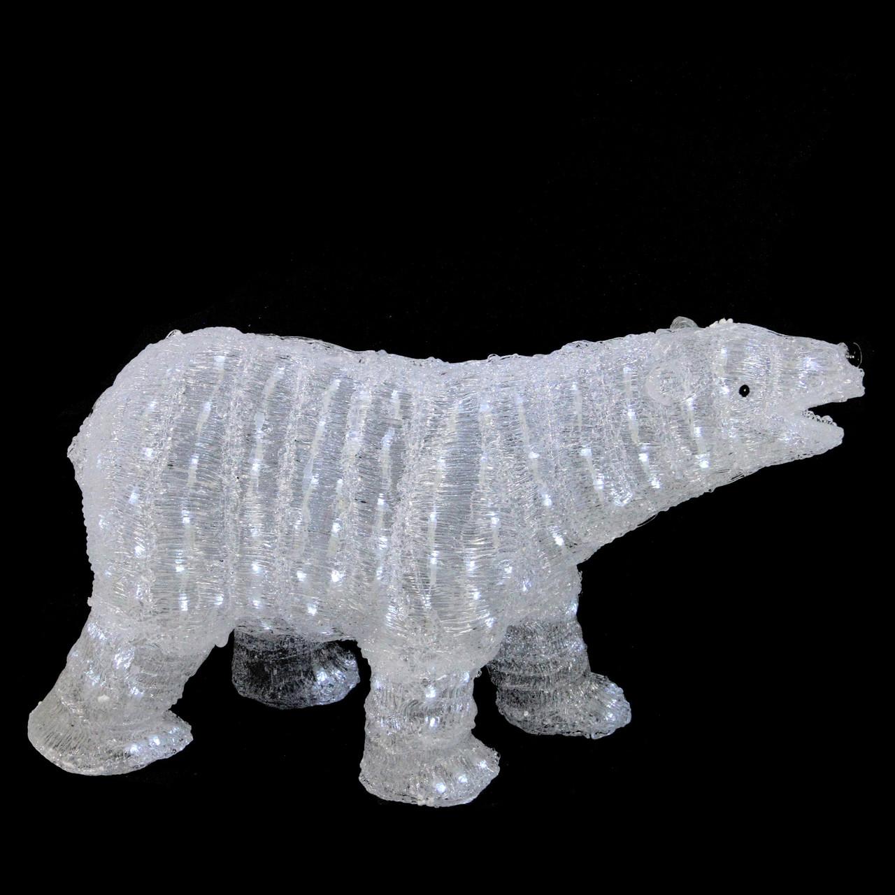 Large Acrylic Polar Bear White LED Lights Outdoor Christmas Display Decoration