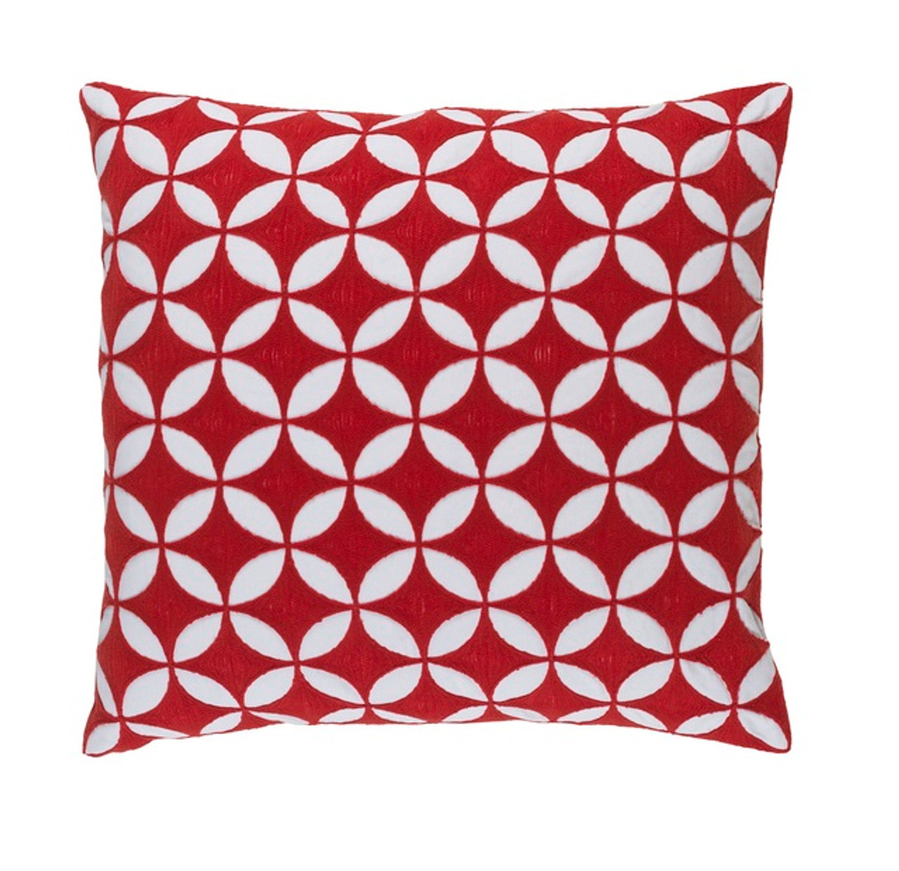 18 Red Velvet White Geometrical Woven Decorative Throw Pillow Poly Filled Christmas Central