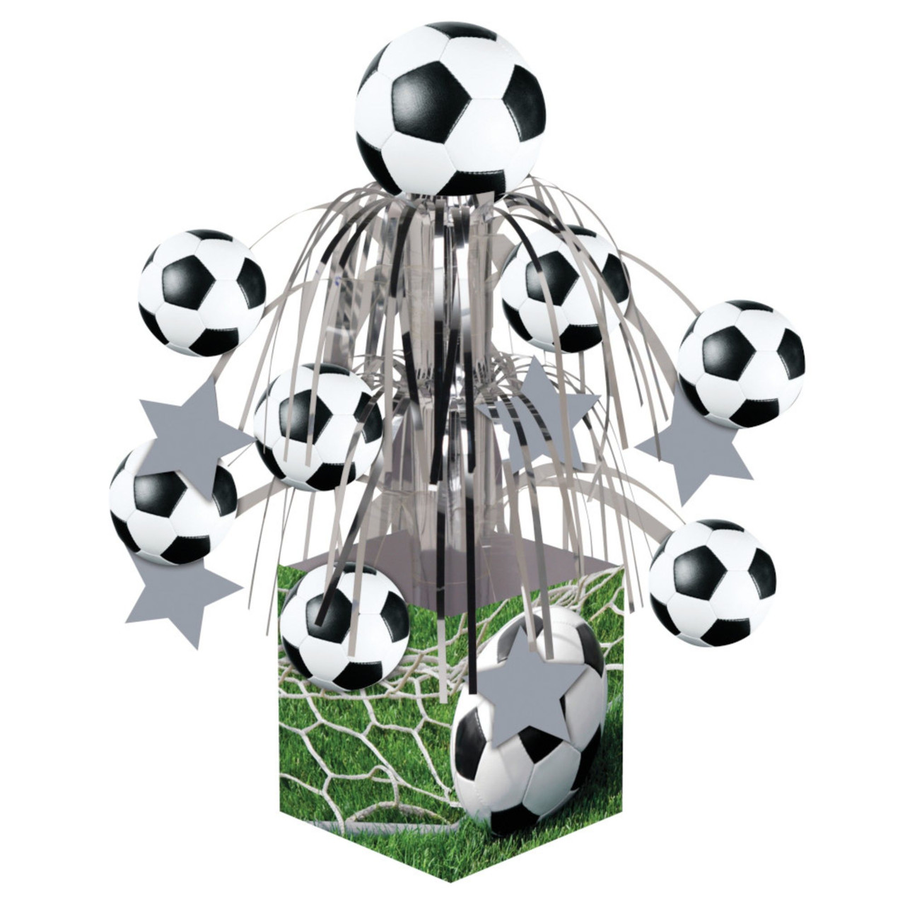 Pack Of 6 Soccer Sports Fanatic Mini Cascade Foil Tabletop