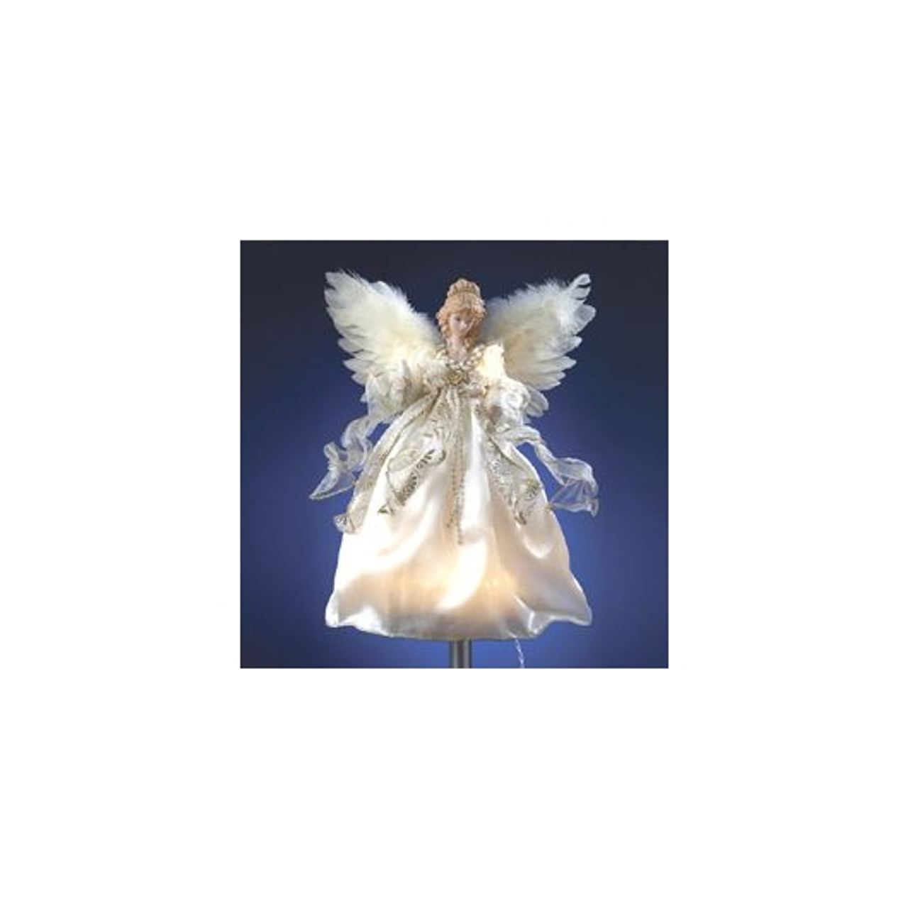 Angel Christmas Tree Topper.12 Off White And Gold Lighted Angel Christmas Tree Topper Clear Lights 10838255