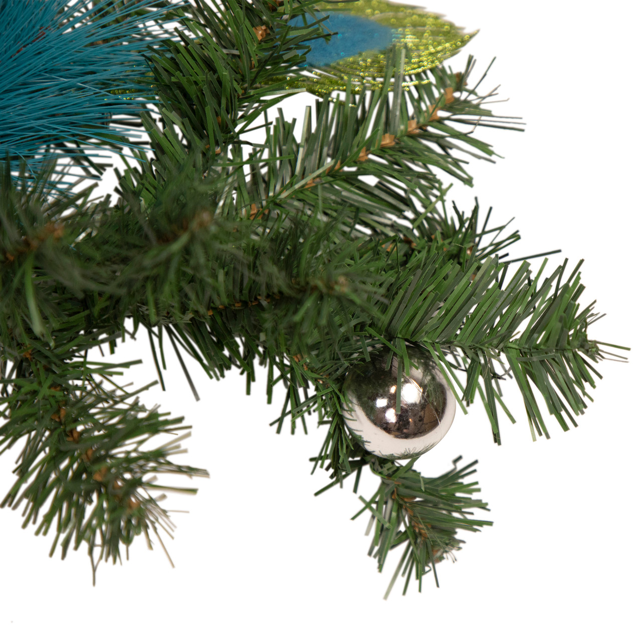6 X 9 Blue And Silver Peacock And Poinsettia Artificial Christmas Garland Unlit 31453761