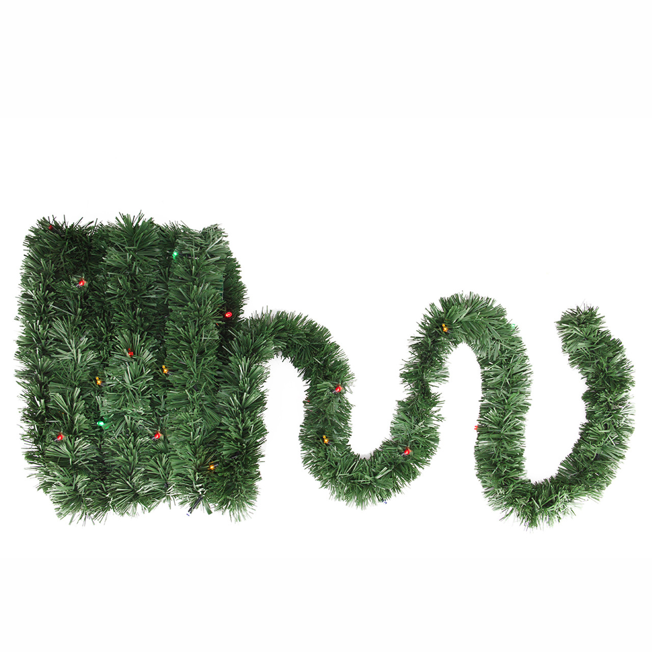 18 Pre Lit Battery Operated Twinkling Green Pine Artificial Christmas Garland Multi Led Lights 31524359