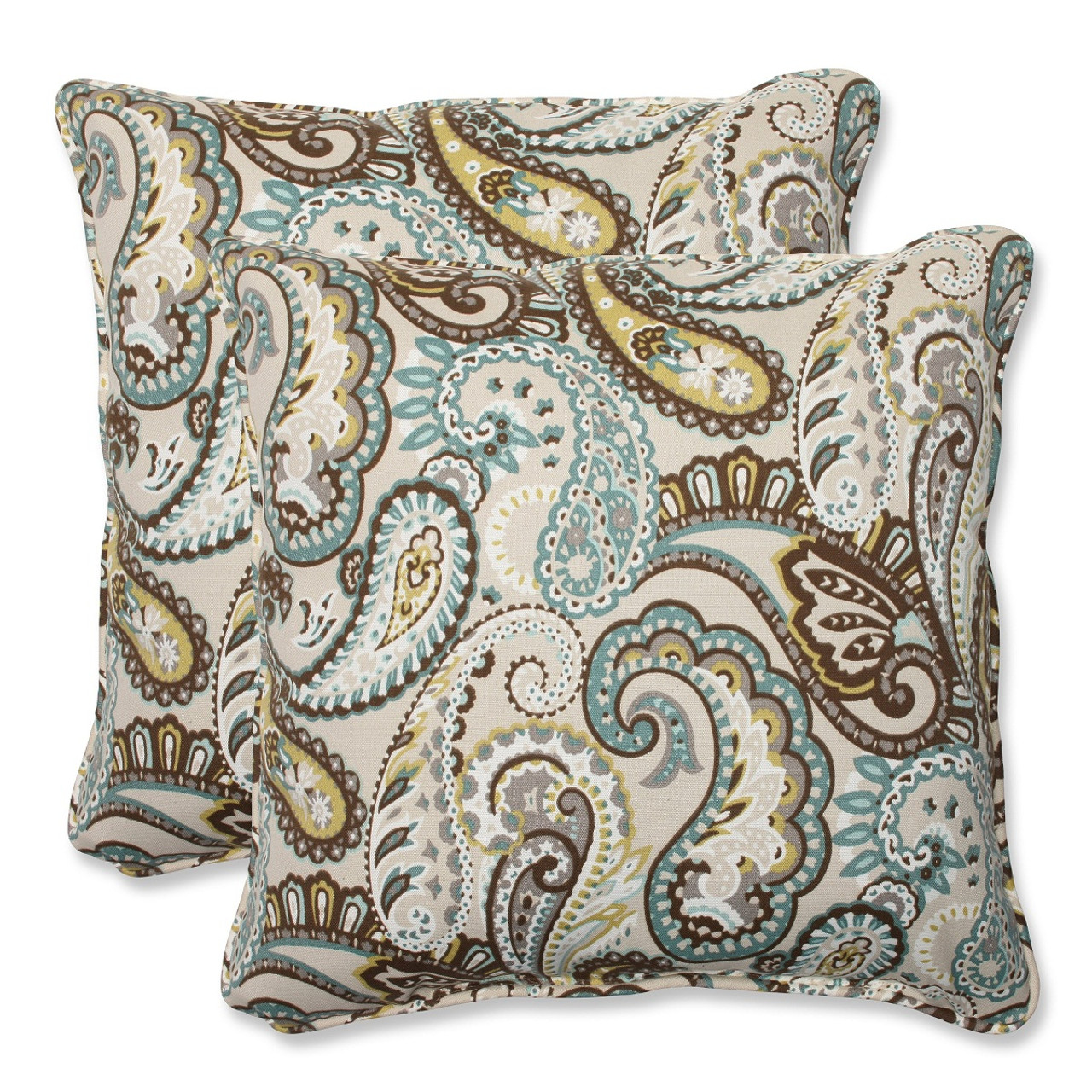 Set of 2 Paisley Giardino Light Blue   Brown Outdoor Corded Square ... 250d69b66