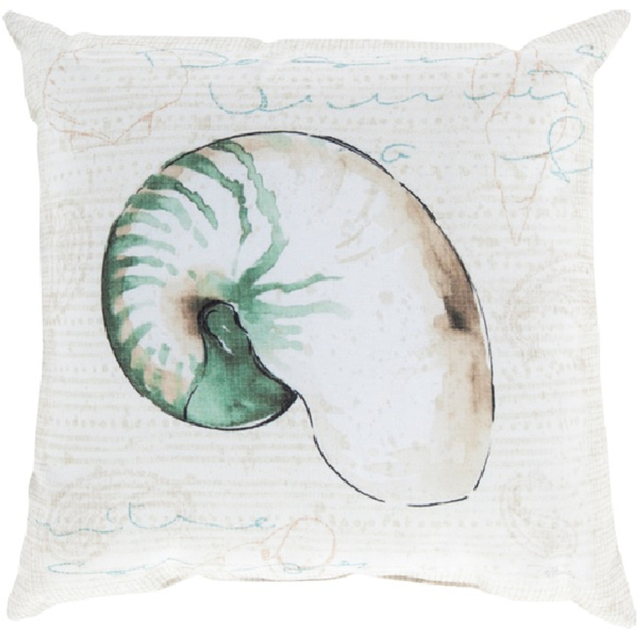 18 Sea Green Ivory Snail Shell Contemporary Square Throw Pillow Cover Christmas Central