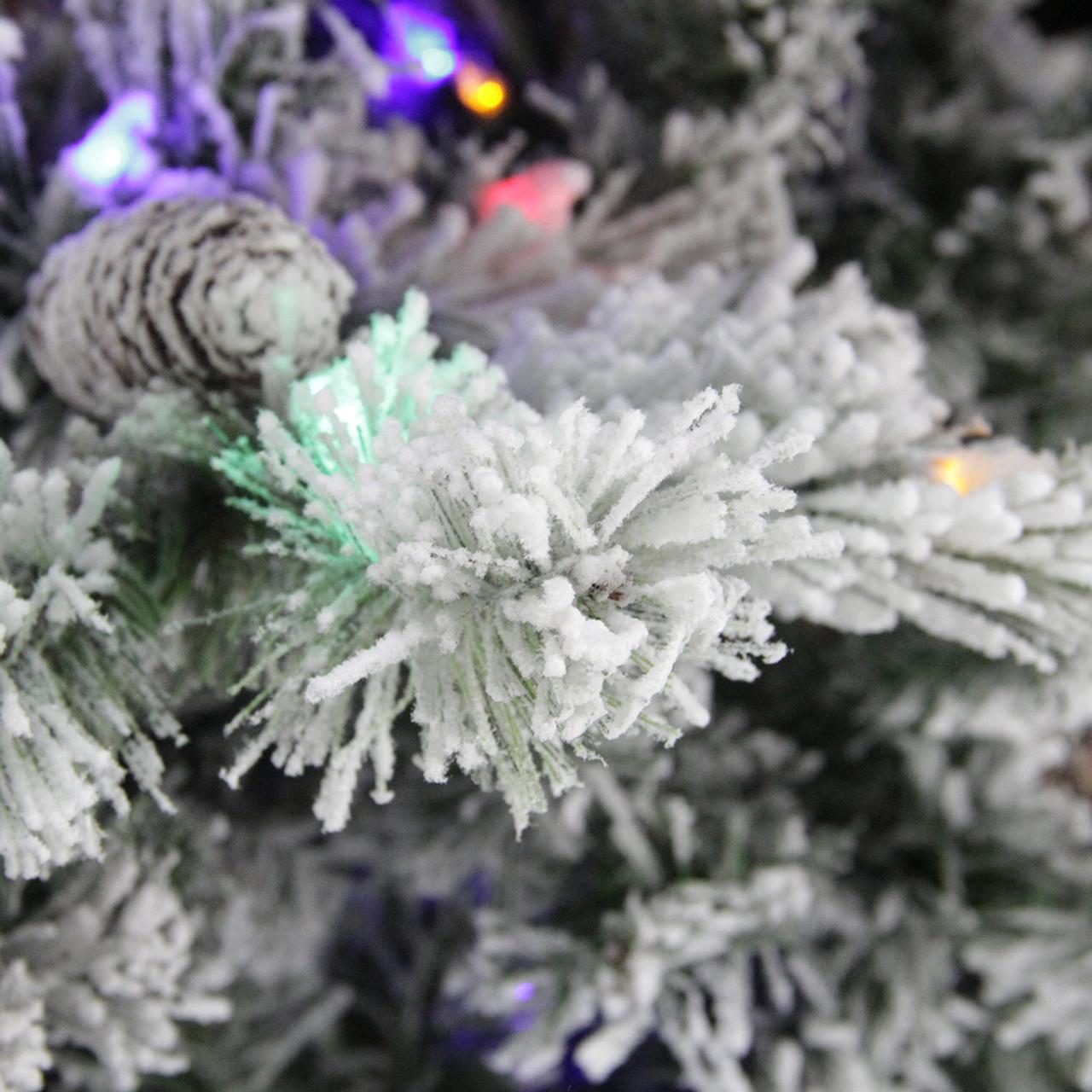 9' Pre-Lit Medium Flocked Victoria Pine Artificial ...