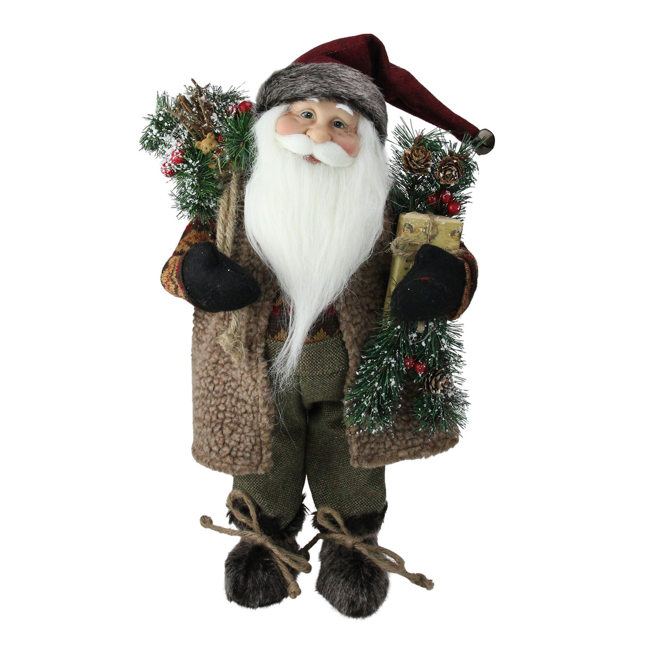 16 Country Rustic Standing Santa Claus Christmas Figure With Present Christmas Central