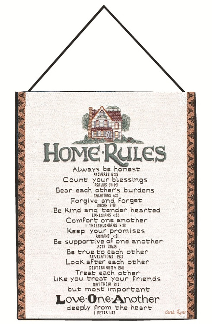 """Red HOME RULES Woven Tapestry with Scripture by Manual Weavers 13/"""" x 18/"""""""