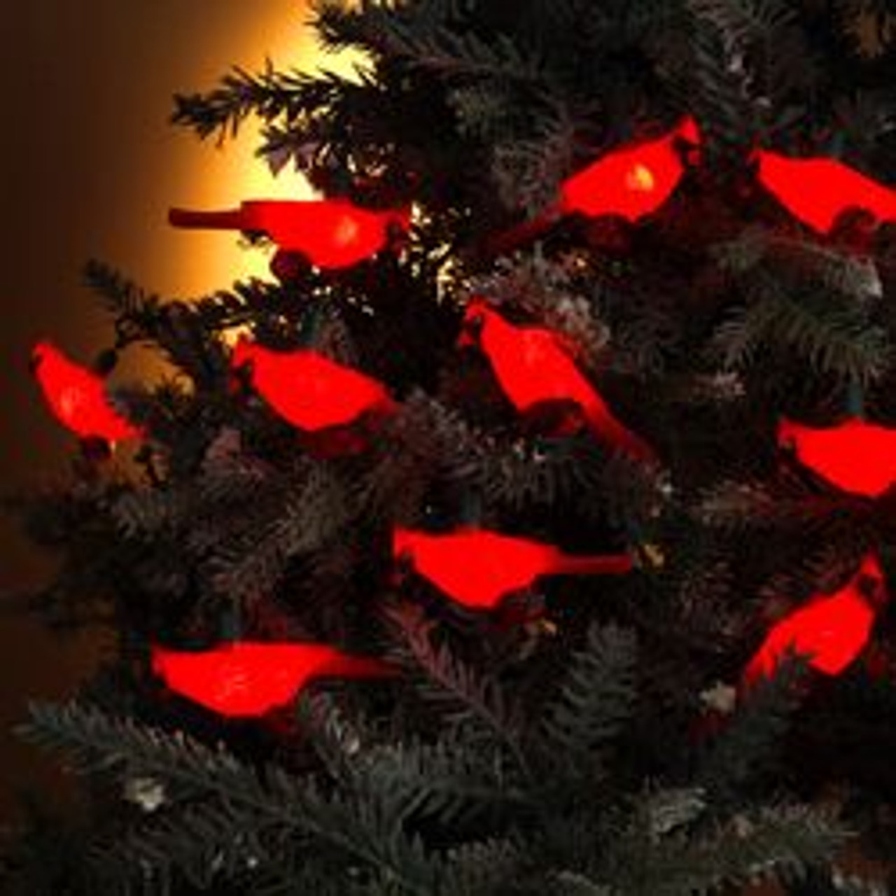 Set Of 10 Festive Red Cardinal Bird Novelty Christmas Lights With Green Wire Christmas Central