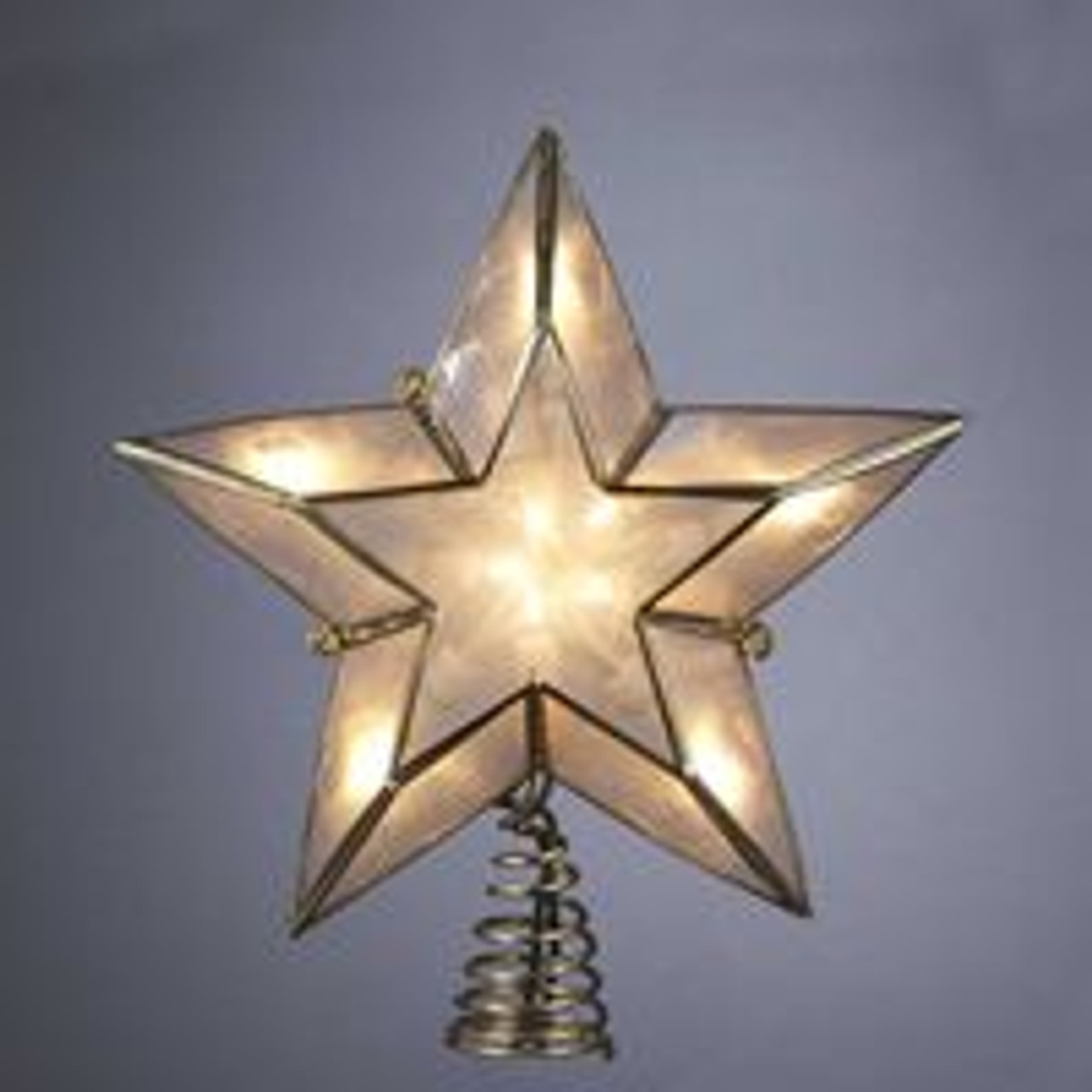 6 Lighted Gold Ivory Capiz Five Point Star Christmas Tree Topper Christmas Central