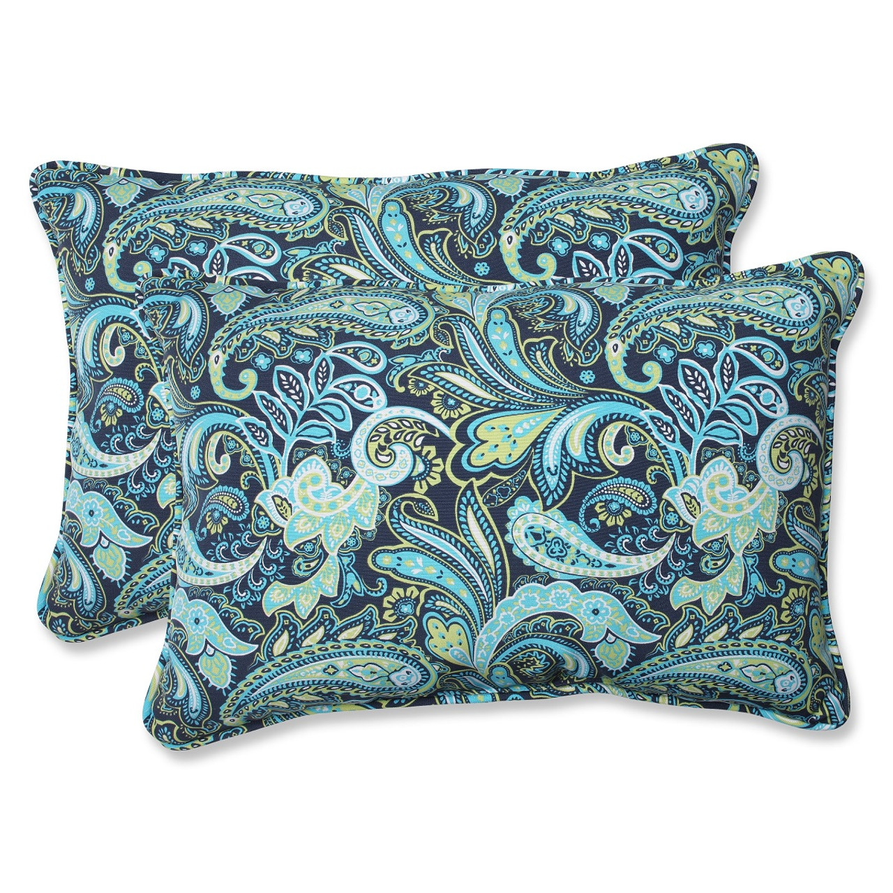 Set Of 2 Sogno Paisley Blue Green White Outdoor Corded Throw