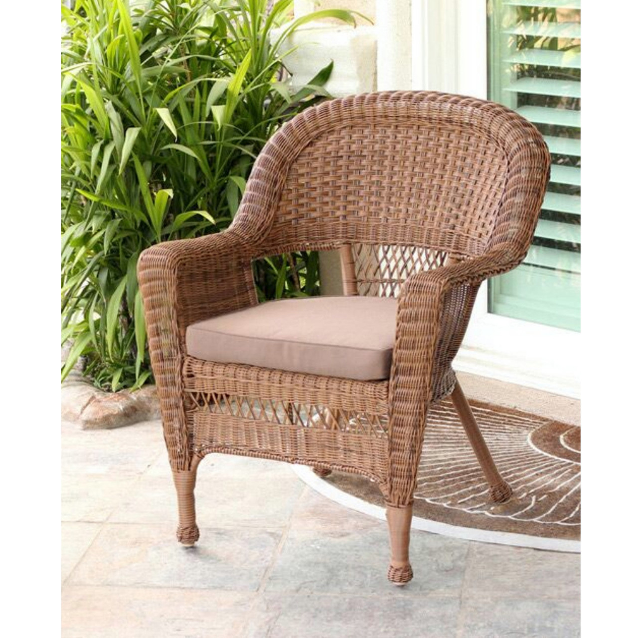 Brilliant 36 Honey Resin Wicker Outdoor Patio Garden Chair Brown Cushion 31556170 Lamtechconsult Wood Chair Design Ideas Lamtechconsultcom