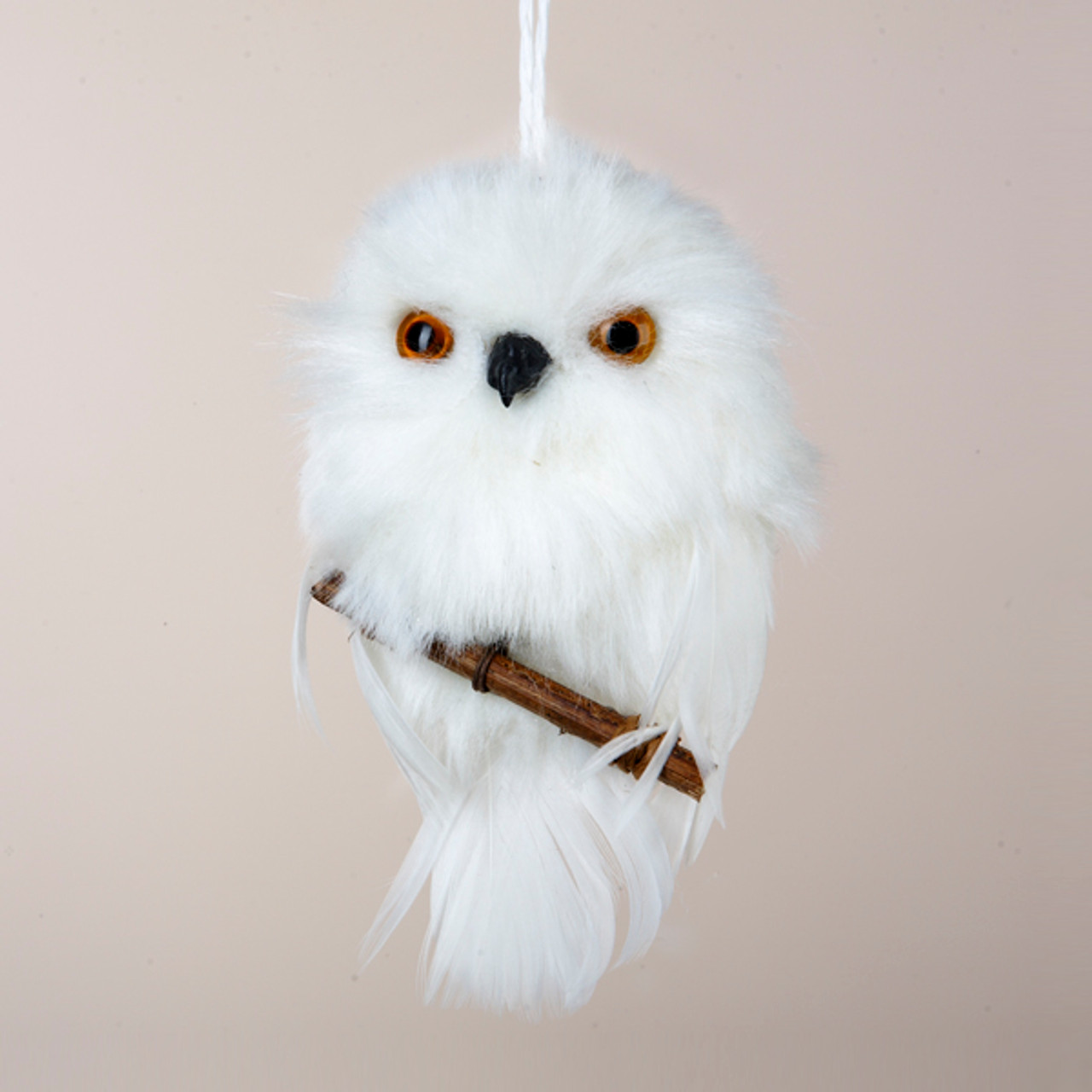 Club Pack Of 24 White Snowy Owl Perched On Branch Christmas