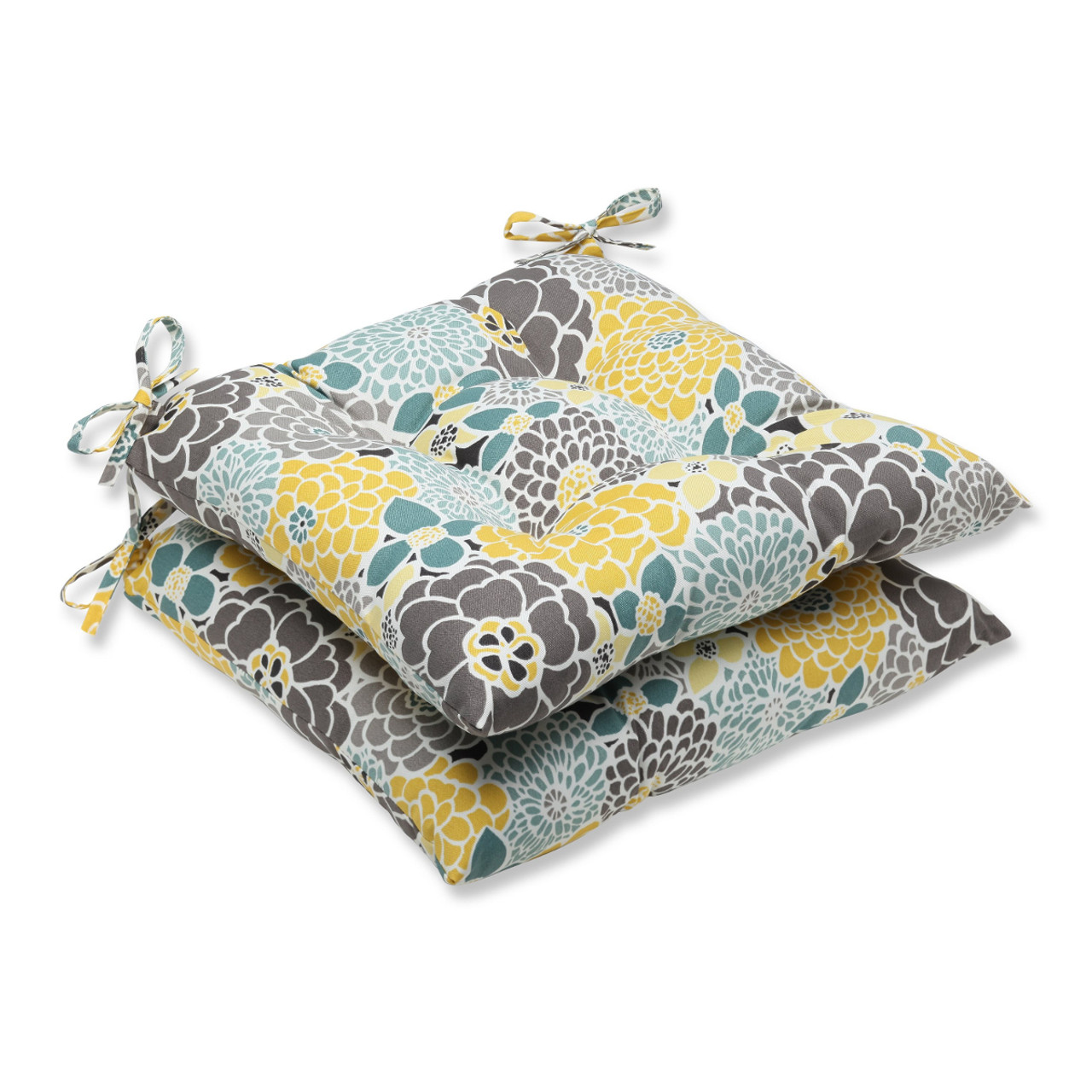 Set Of 2 Yellow Gray Floral Grande Outdoor Patio Seat Chair