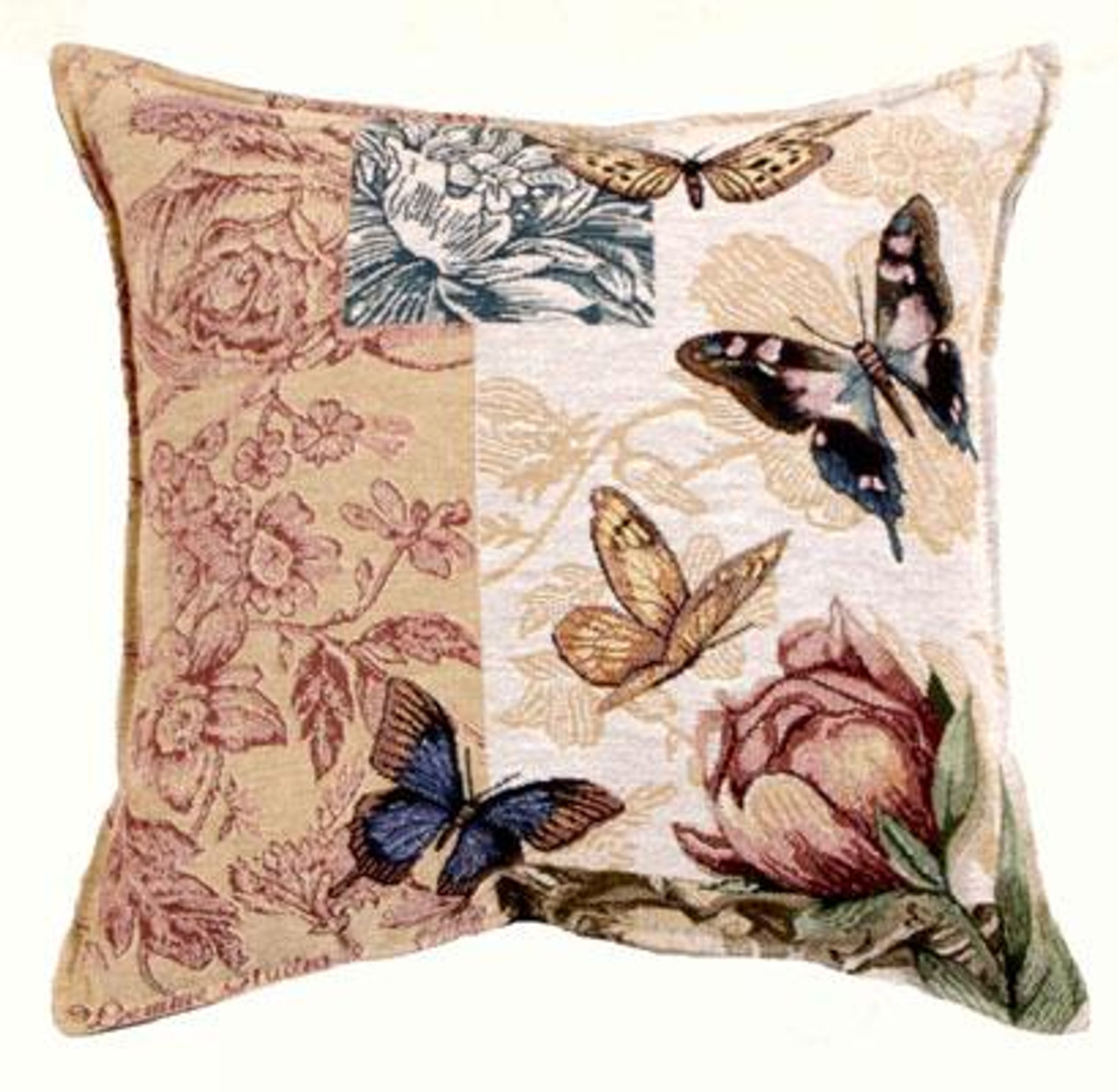 17 Floral Butterfly Tapestry Square Throw Pillow Christmas Central