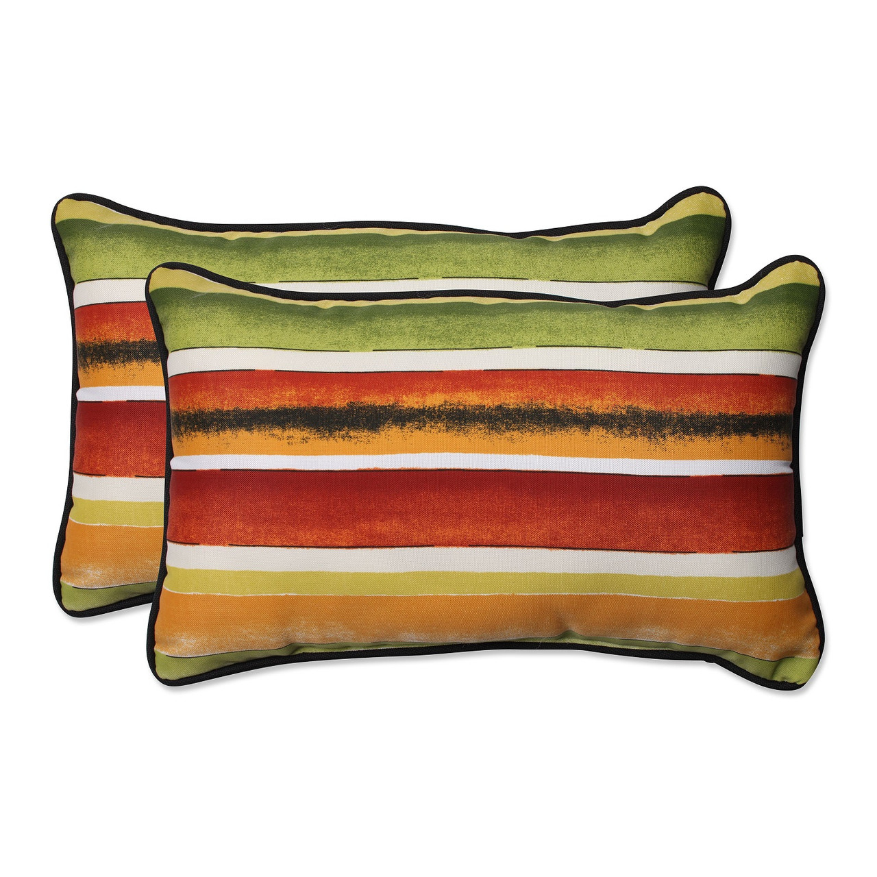 Set Of 2 Festive Orange Green Striped Outdoor Rectangular Throw