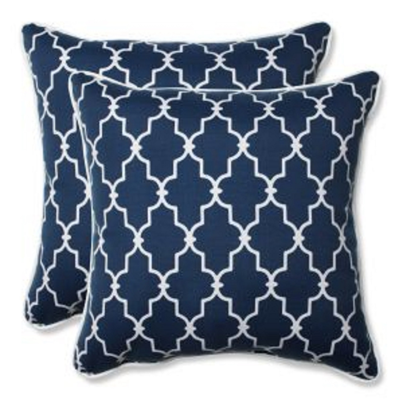 Set Of 2 Moroccan Gate Navy Blue White Square Corded Throw Pillows