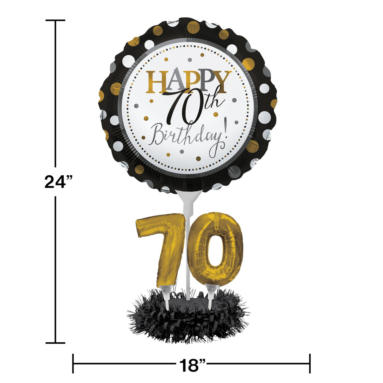 Set Of 4 Happy 70th Birthday Foil Party Balloon Centerpiece Kits