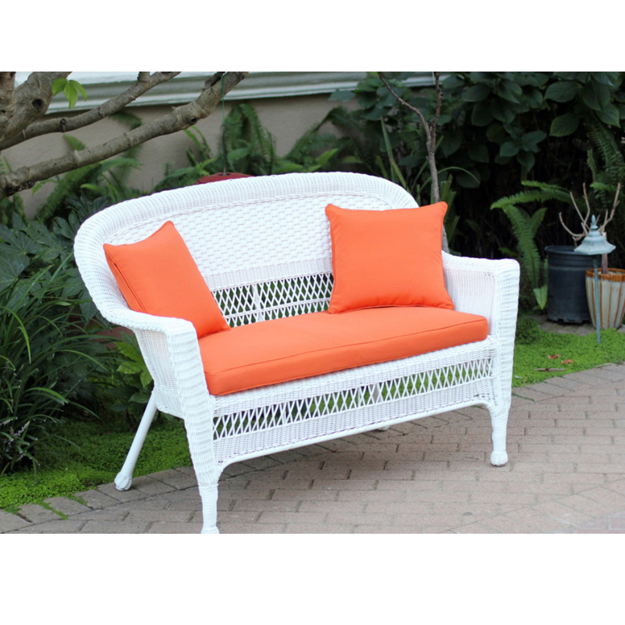 Super 51 Jasmine White Resin Wicker Patio Loveseat Tangerine Orange Cushion And Pillows 31556311 Inzonedesignstudio Interior Chair Design Inzonedesignstudiocom