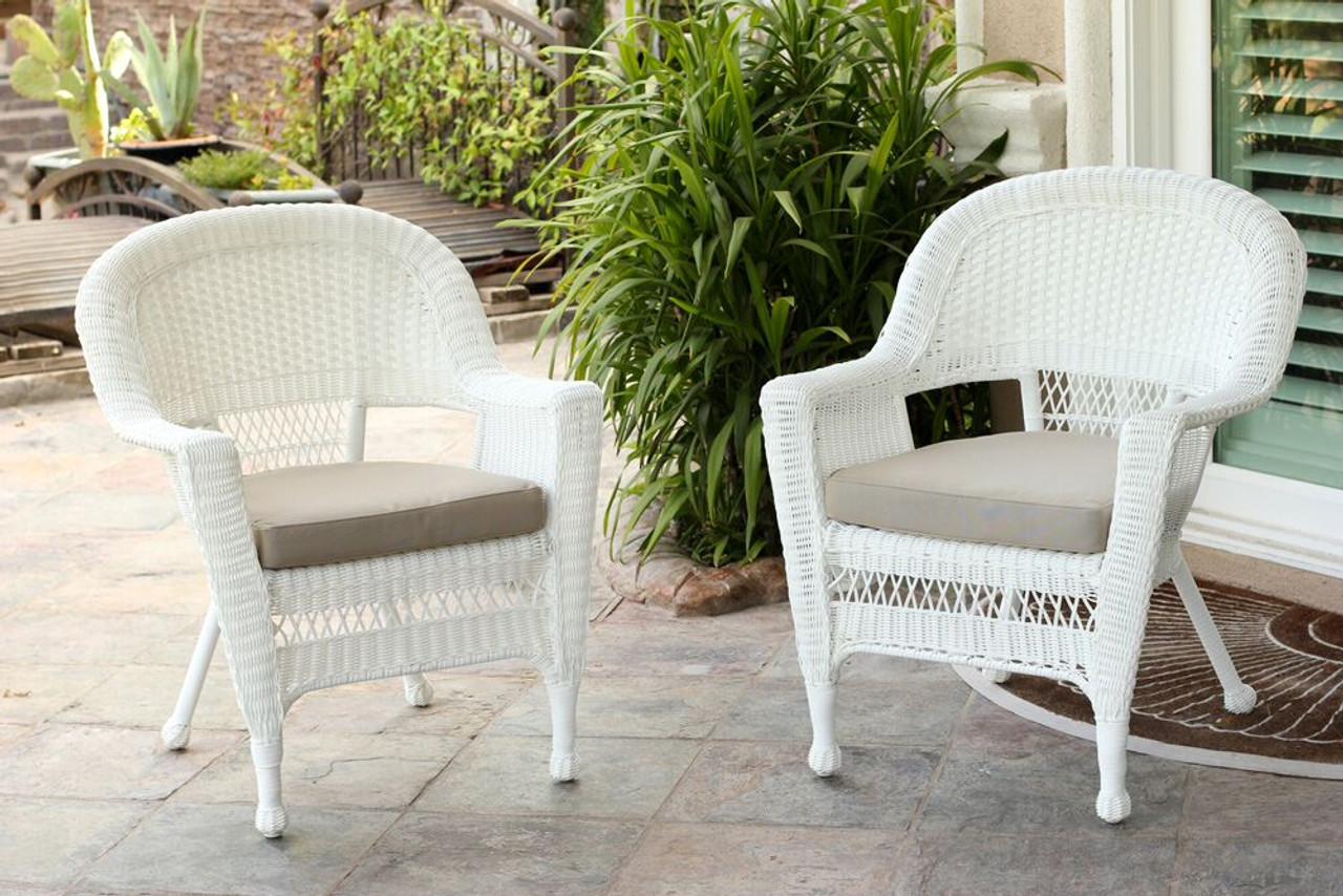 Strange Set Of 2 White Resin Wicker Outdoor Patio Garden Chairs Tan Cushions 31556259 Lamtechconsult Wood Chair Design Ideas Lamtechconsultcom