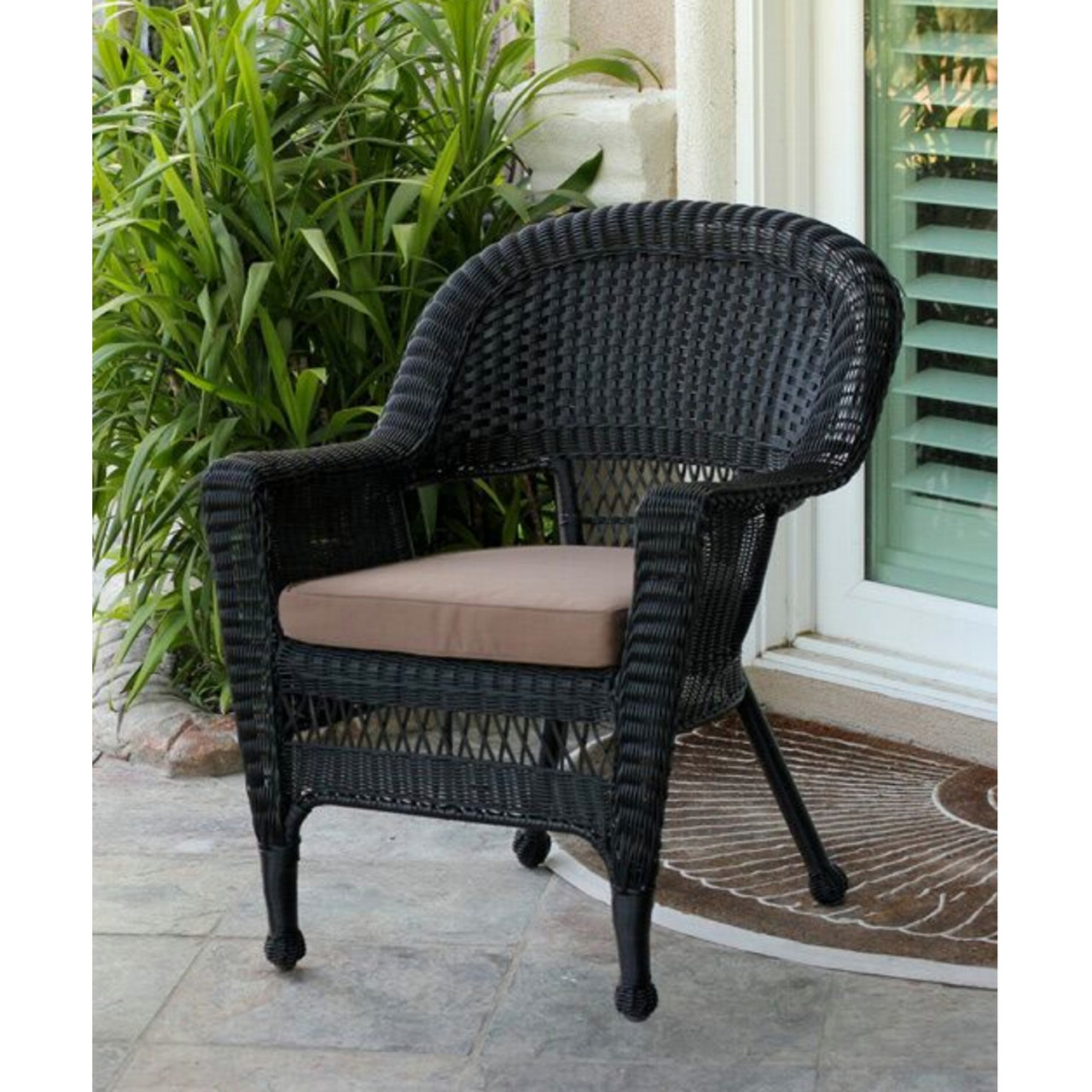Magnificent 36 Black Resin Wicker Outdoor Patio Garden Chair With Mocha Brown Cushion 31556366 Lamtechconsult Wood Chair Design Ideas Lamtechconsultcom