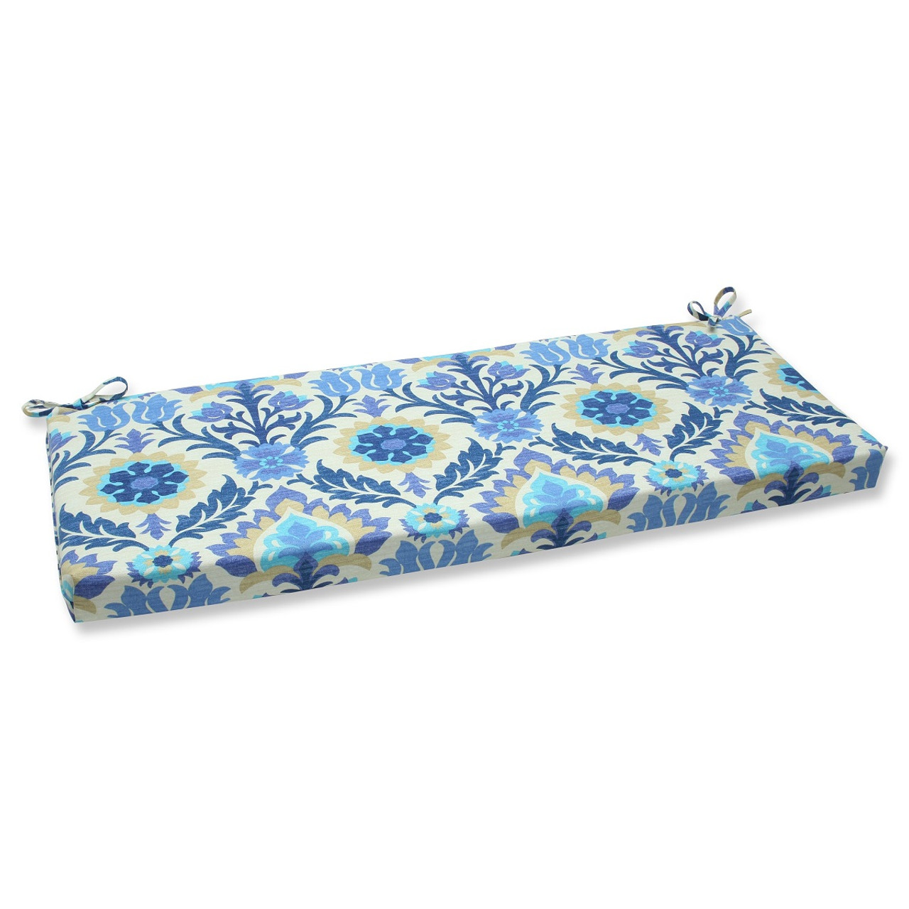 45 Dream Garden Navy Blue Light Taupe And Ivory Damask Outdoor Patio Bench Cushion 31351371