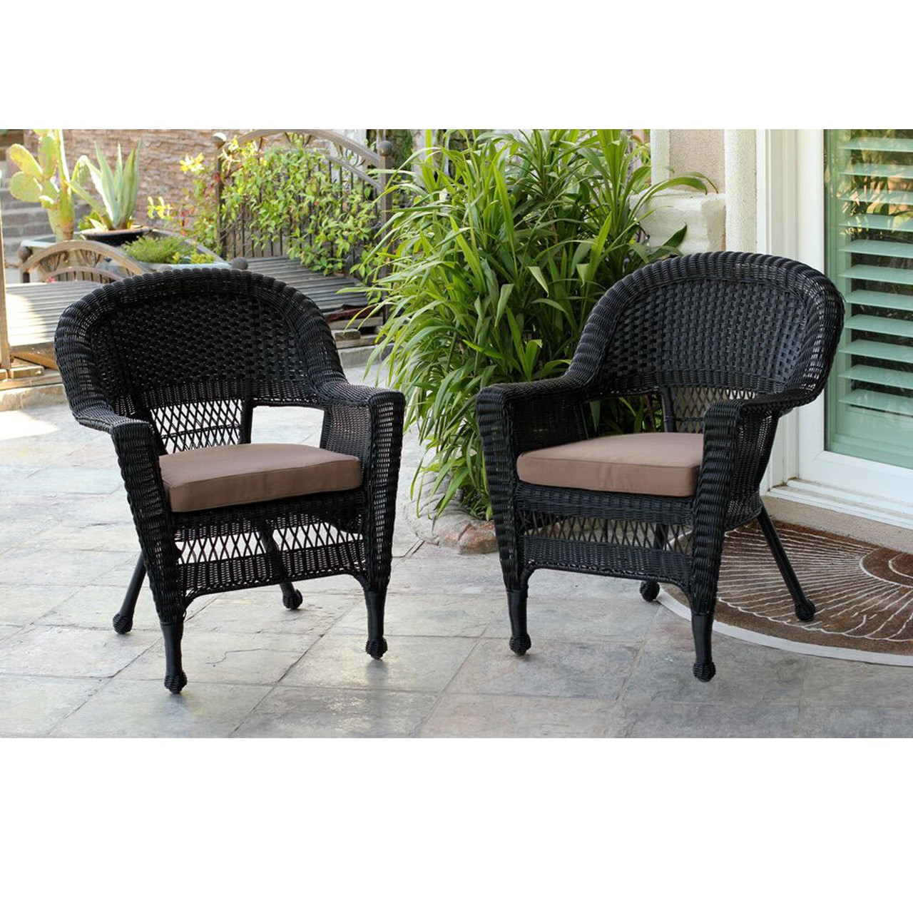 Set Of 2 Black Resin Wicker Outdoor Patio Garden Chairs With Brown Cushions 36 Christmas Central