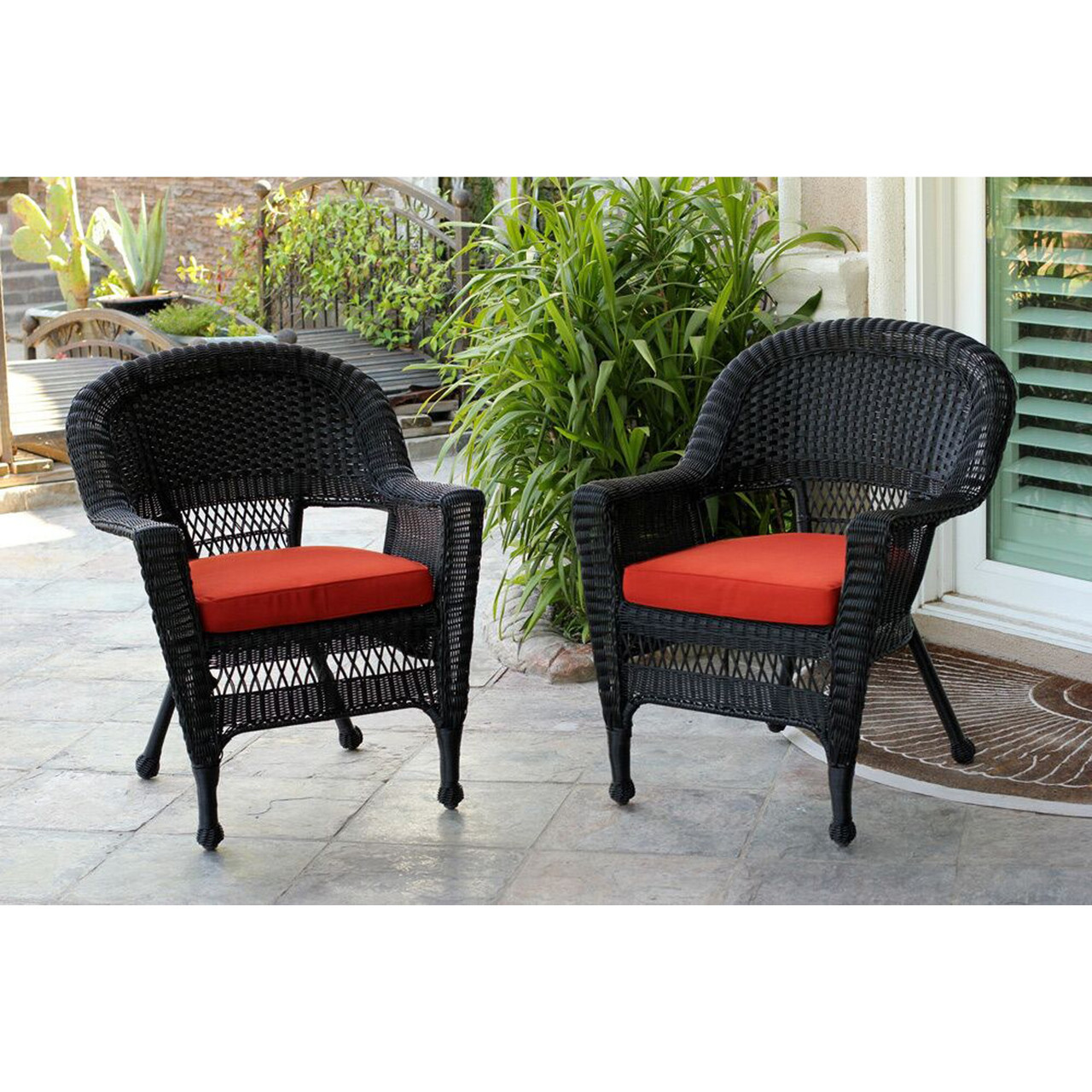 Astounding 2 Black Resin Wicker Outdoor Patio Garden Chairs With Red Orange Cushions 36 31556362 Lamtechconsult Wood Chair Design Ideas Lamtechconsultcom