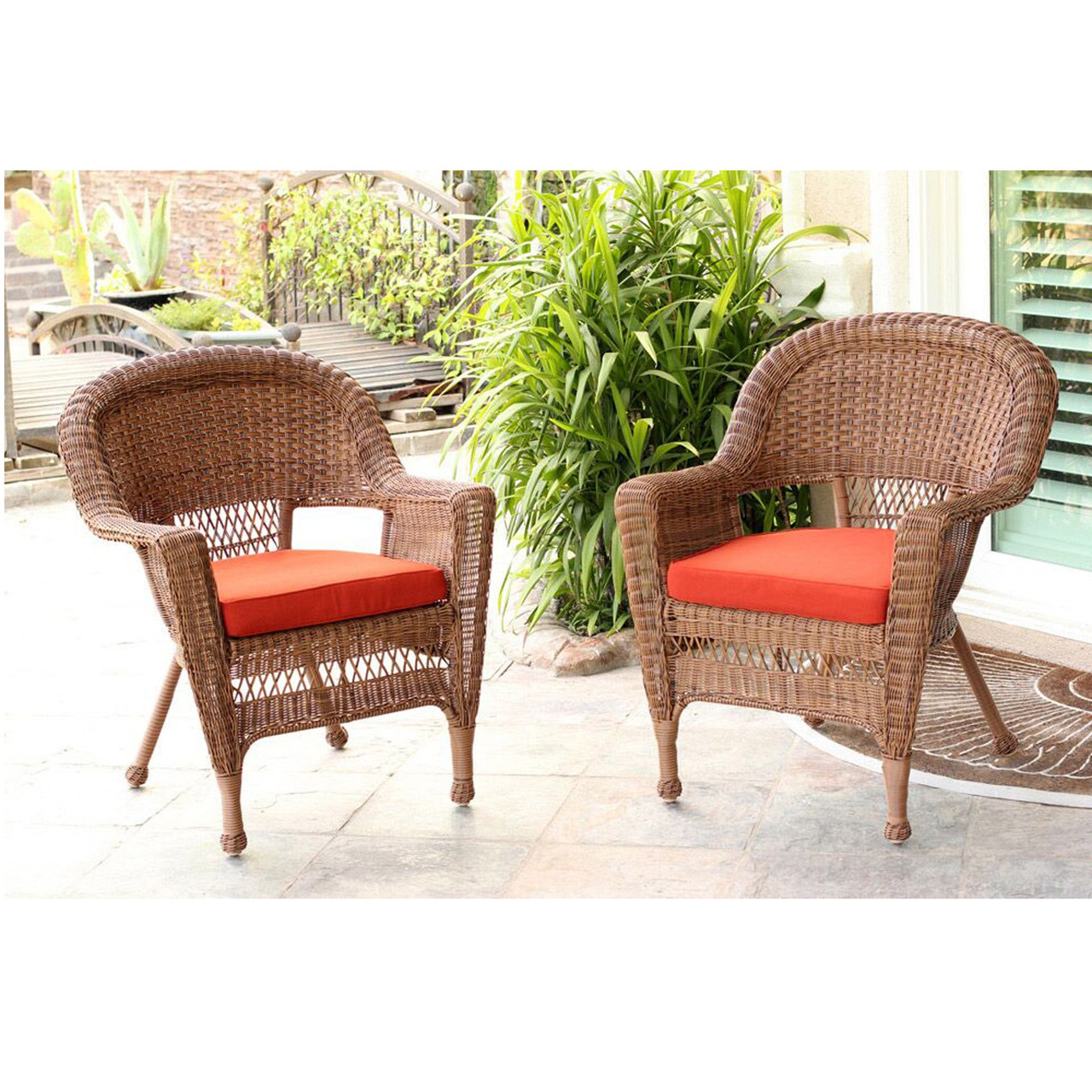 Astonishing Set Of 2 Honey Brown Resin Wicker Outdoor Patio Garden Chairs Red Cushions 31556166 Lamtechconsult Wood Chair Design Ideas Lamtechconsultcom