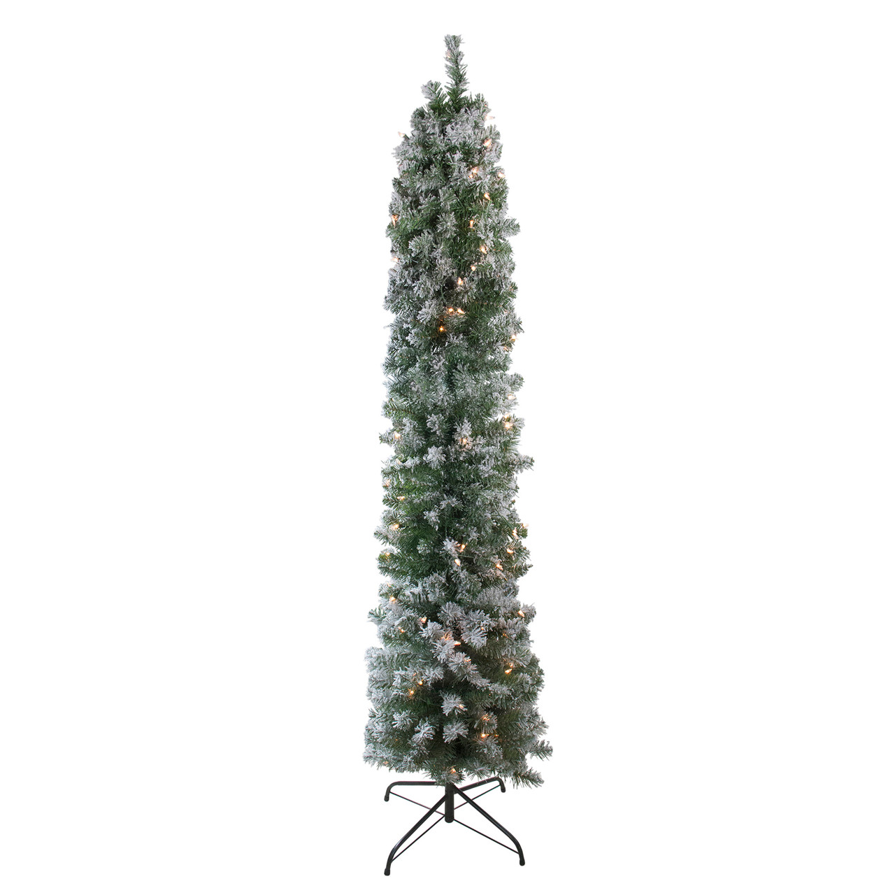 6 Pre Lit Pencil Flocked Green Pine Artificial Christmas Tree Clear Lights Christmas Central