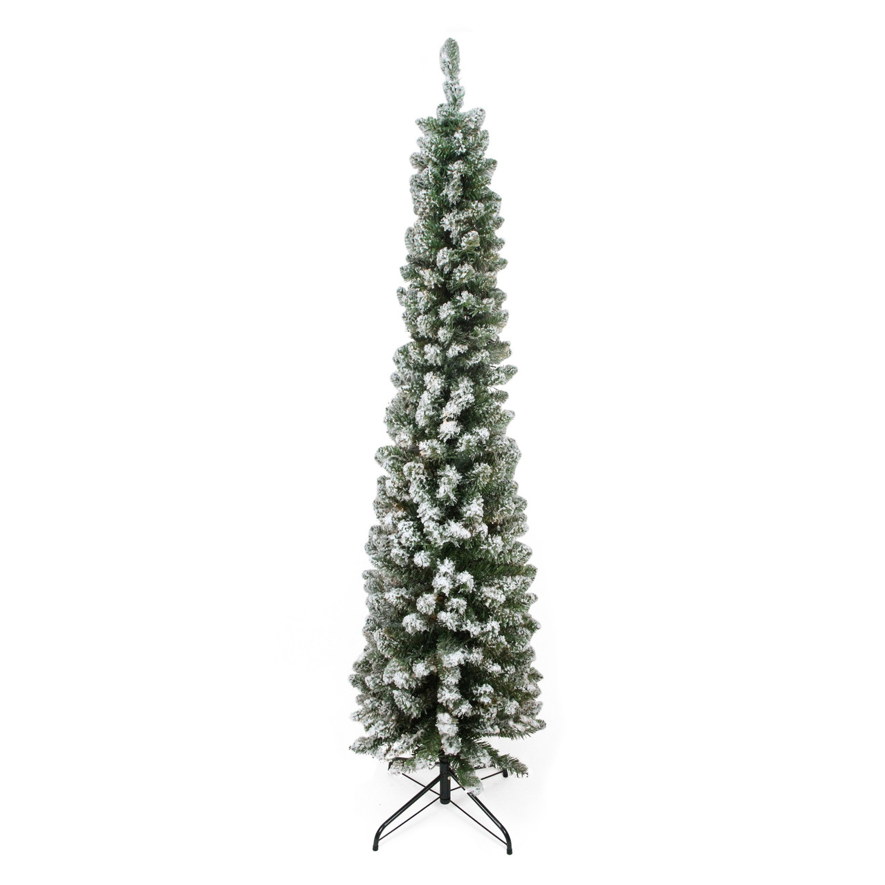 6 Flocked Traditional Green Pine Pencil Artificial Christmas Tree Unlit Christmas Central