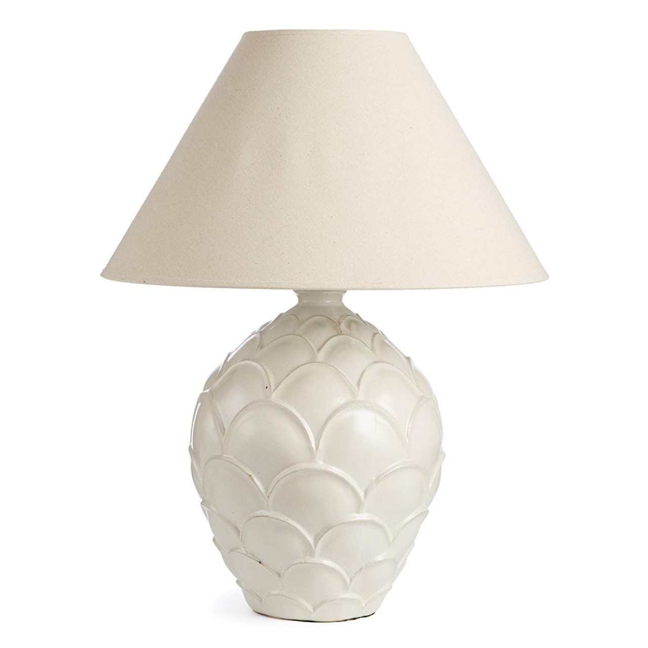 28 5 White On White Scallop Base Table Lamp With Round Tapered