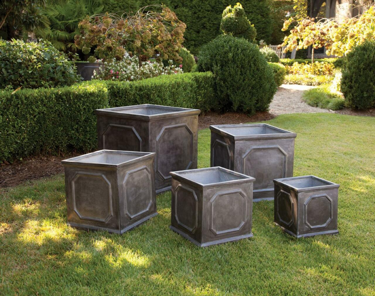 Set Of 5 Square Geometric Design Garden Planters With A Faux Lead