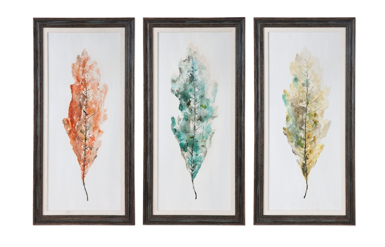 3 Piece Set Of Tricolor Leave Hand Painted Abstract Wall Art Prints With Distressed Black Frames 31801021