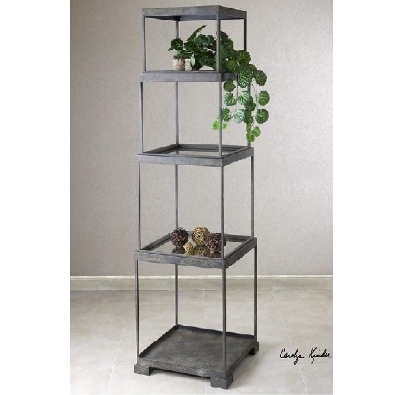71 Distressed Bronze Metal Stacked Cubes Decorative Etagere Display