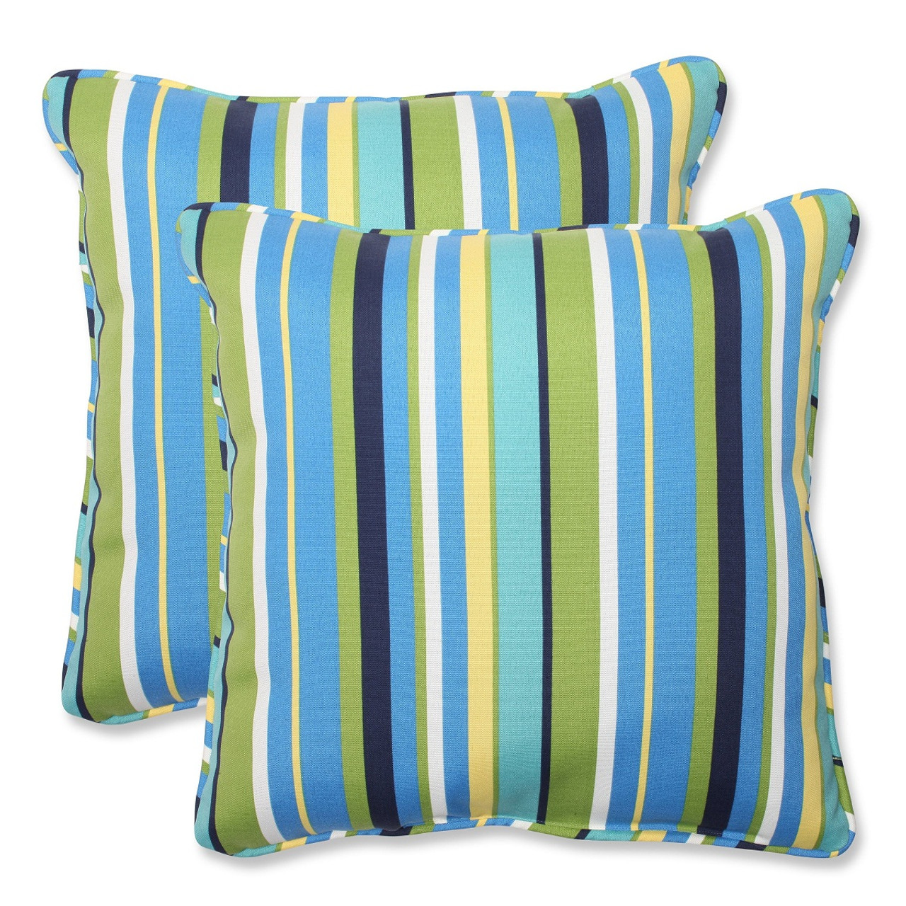 Set Of 2 Strisce Luminose Blue Green Yellow Striped Outdoor Corded Square Throw Pillows 18 5 Christmas Central