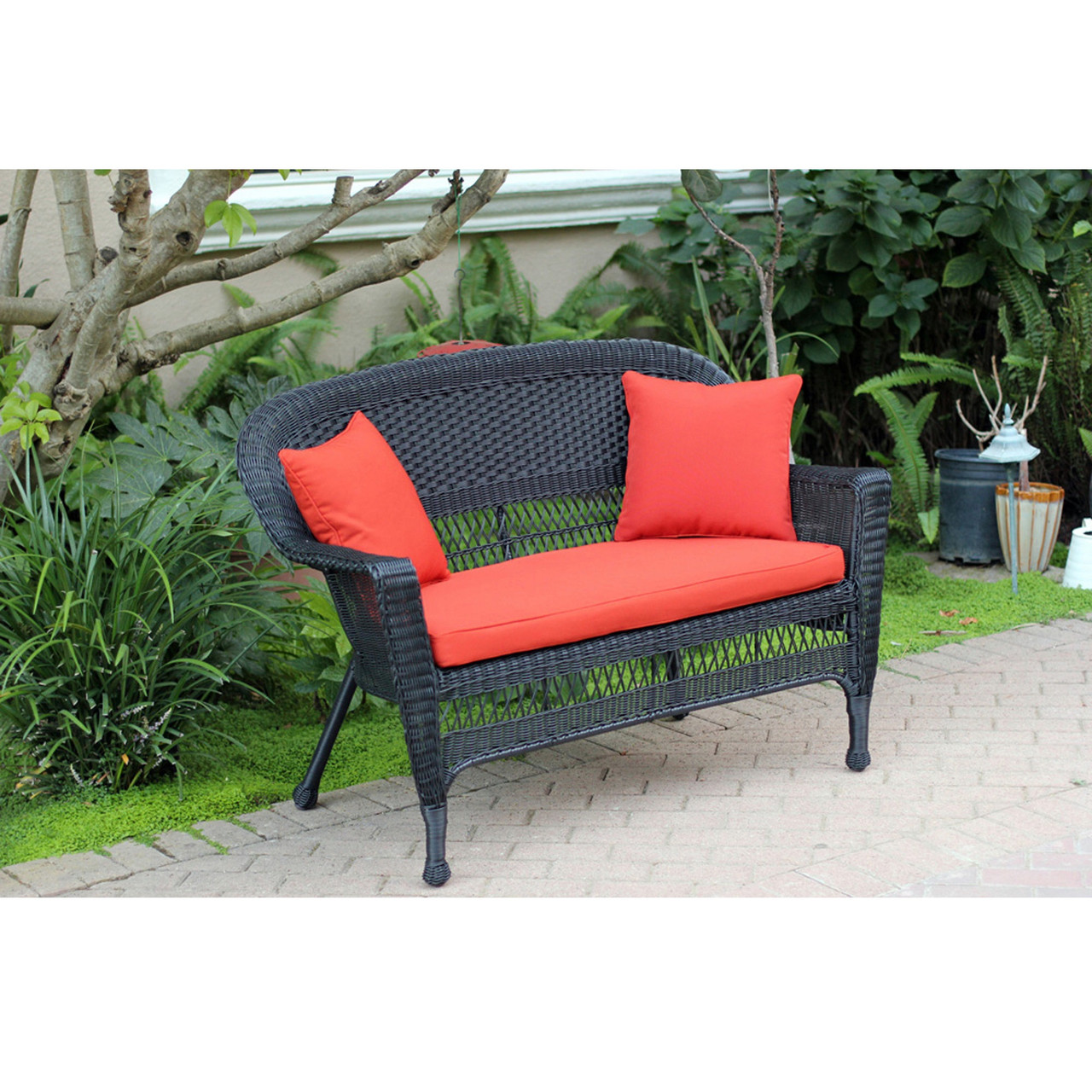 Marvelous 51 Black Resin Wicker Outdoor Patio Garden Love Seat Red Orange Cushion Pillows 31556411 Pdpeps Interior Chair Design Pdpepsorg